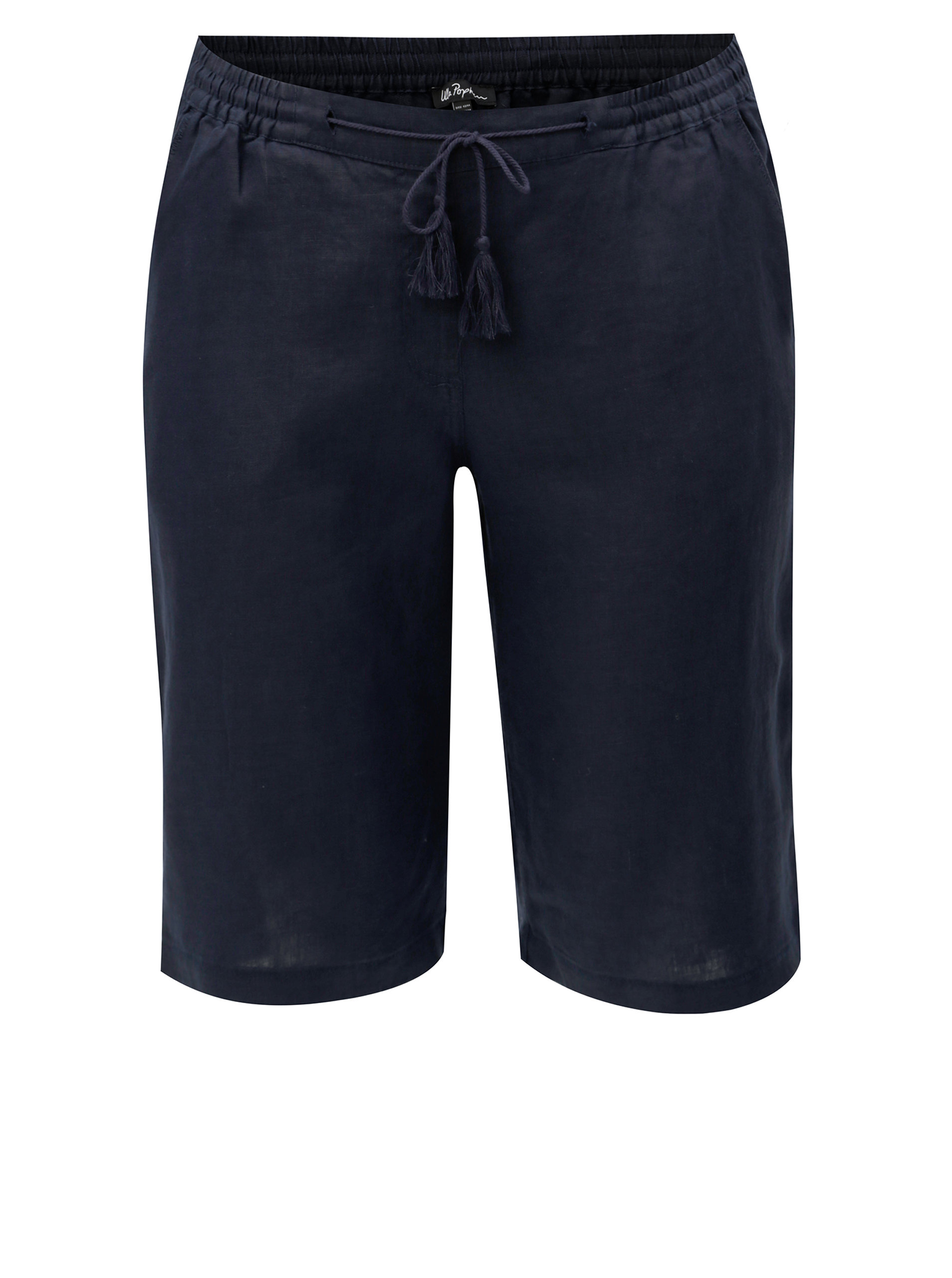 Tmavě modré lněné kalhoty Ulla Popken
