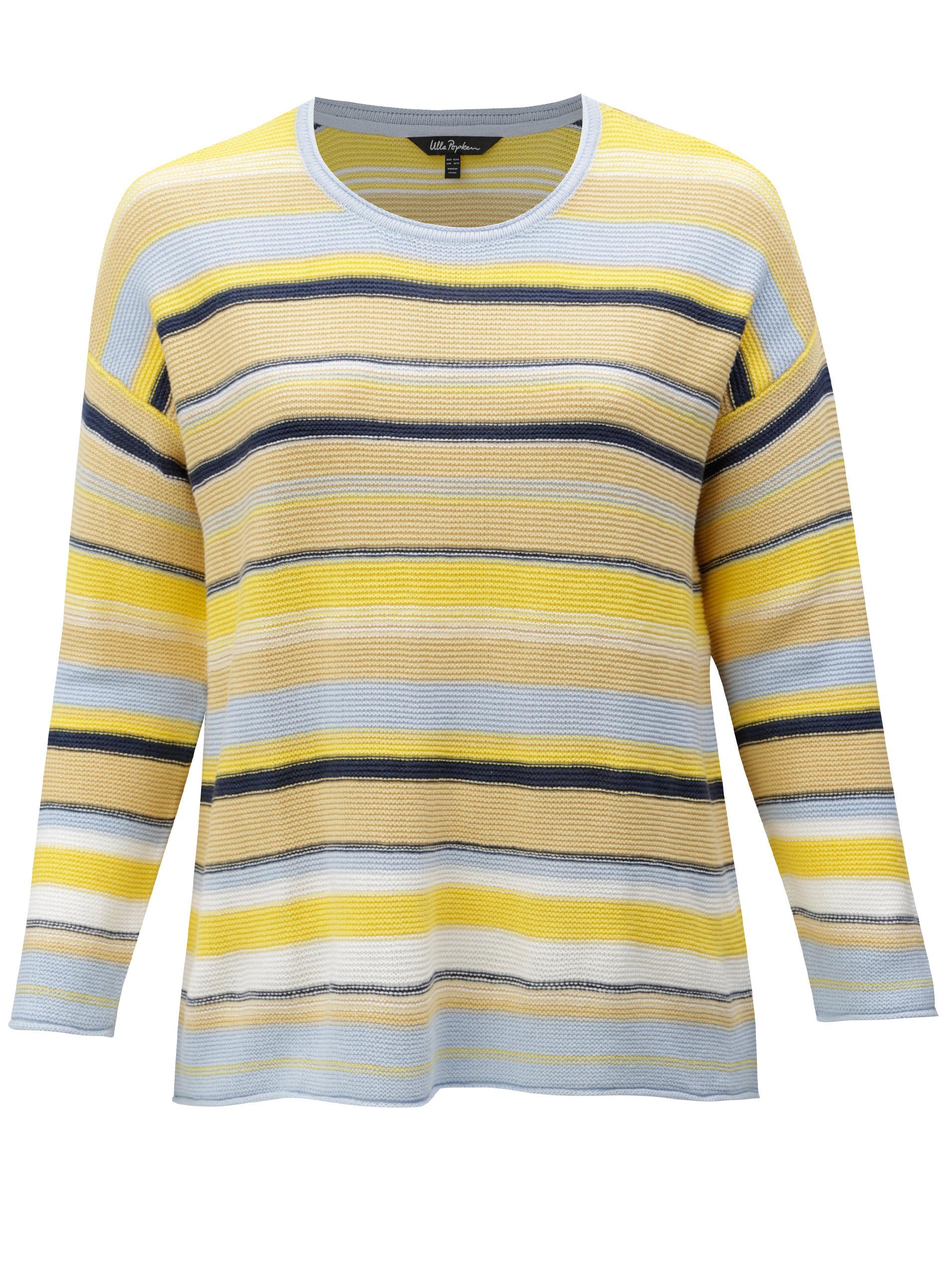 Modro-žlutý pruhovaný svetr Ulla Popken ... cbe8d0c393
