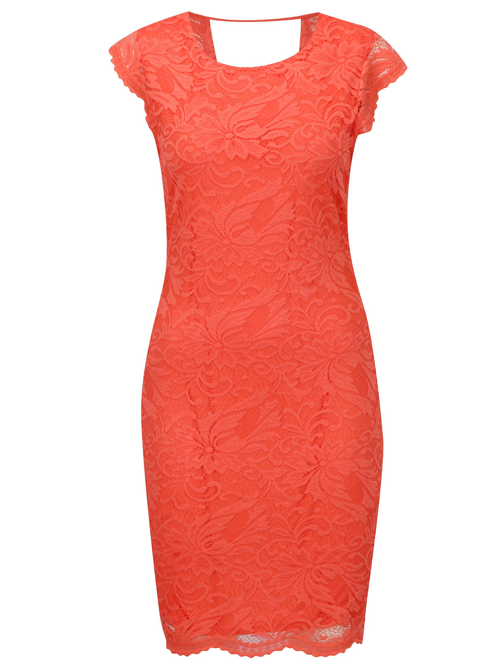 95517d1b2655 Červené čipkované šaty VERO MODA Sandra ...