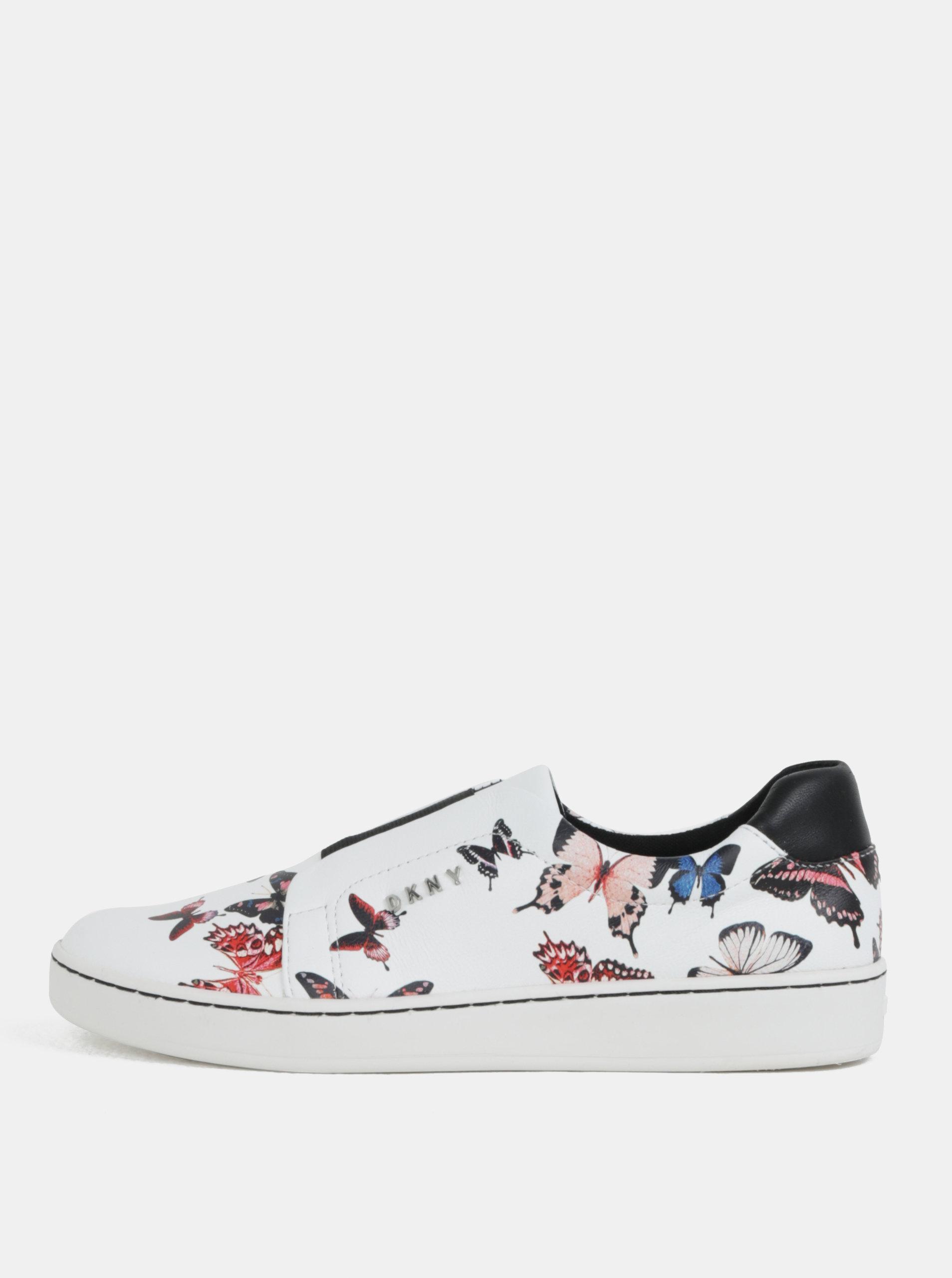 Bílé kožené vzorované slip on DKNY