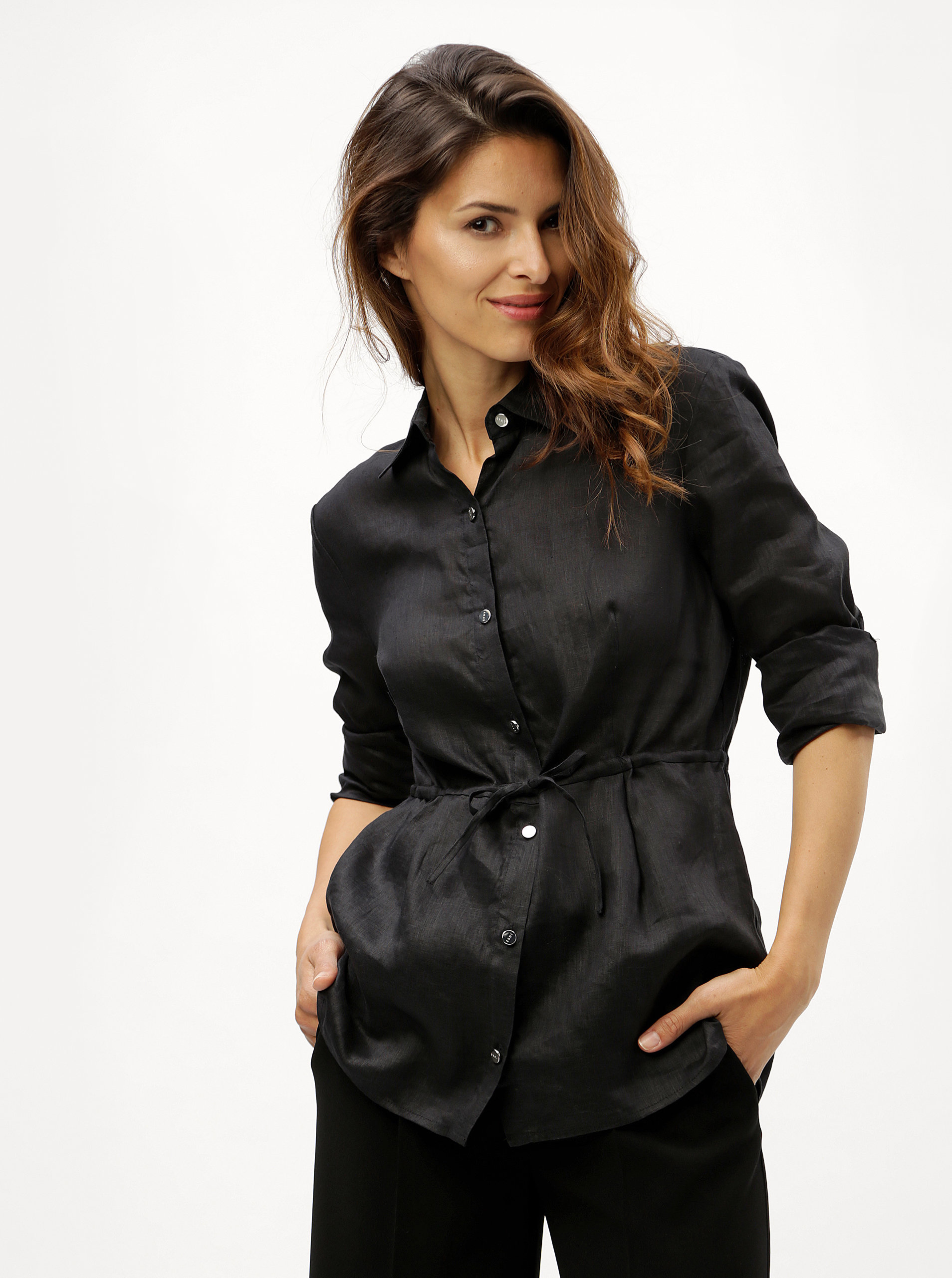 b0ef089c1aa5 Čierna ľanová košeľa s dlhým rukávom DKNY ...