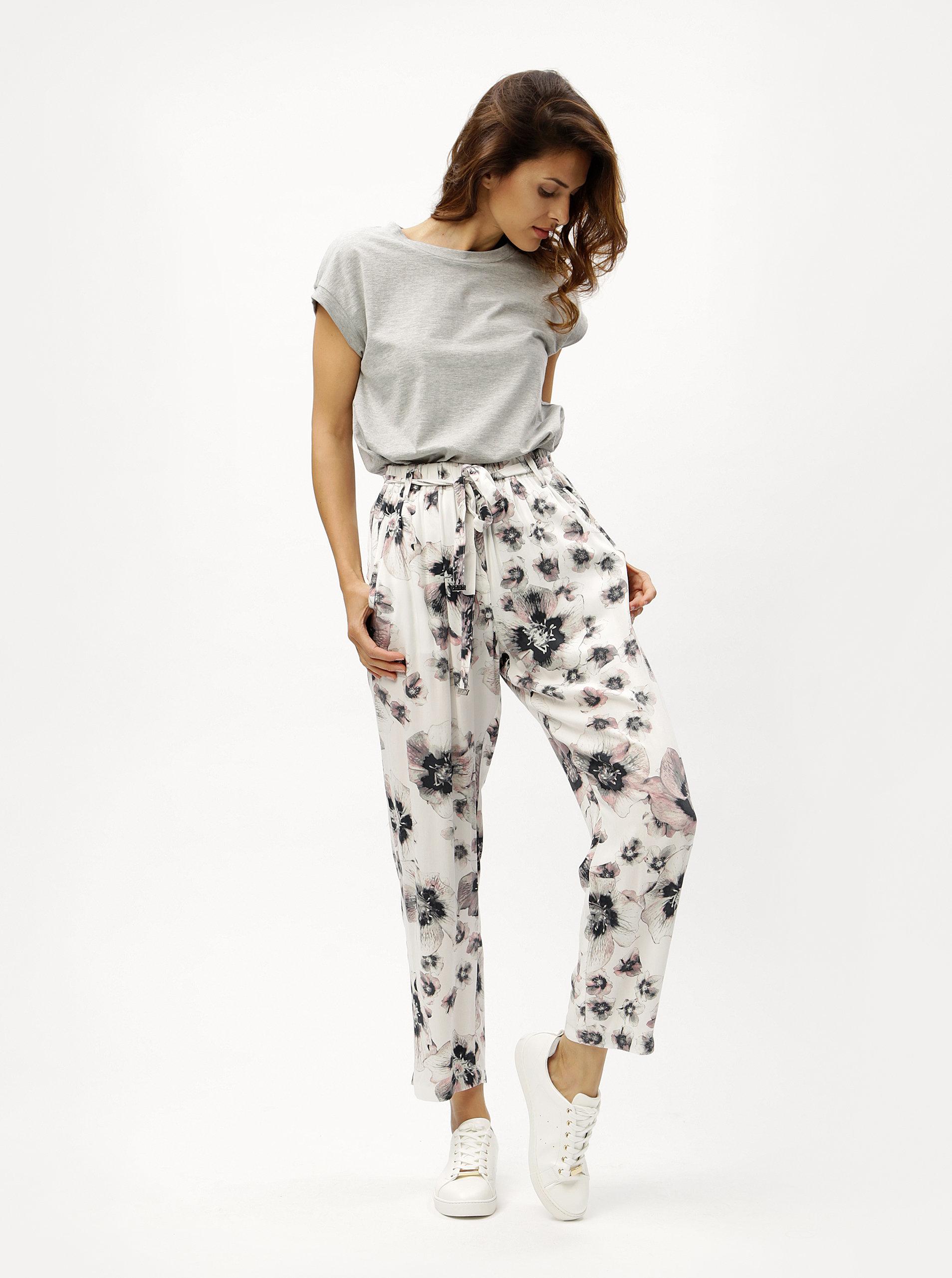ec0fa9cc54e6 Biele vzorované nohavice DKNY ...