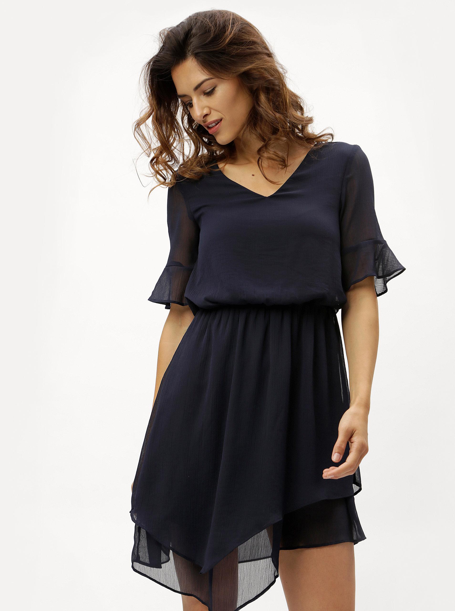 Tmavě modré asymetrické šaty VERO MODA Sarah ... ae10a3ae28