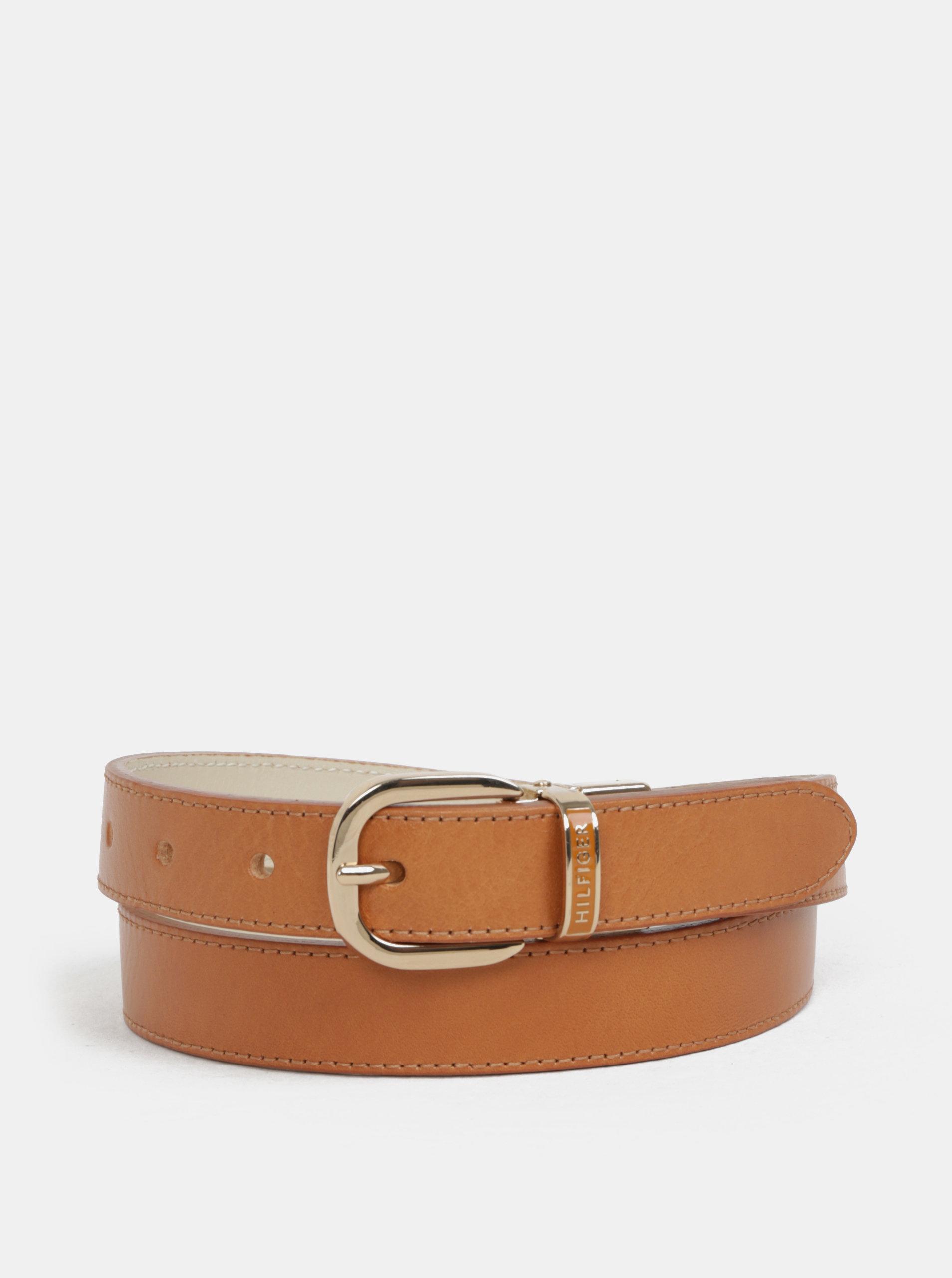 Krémovo-hnědý oboustranný dámský kožený pásek Tommy Hilfiger