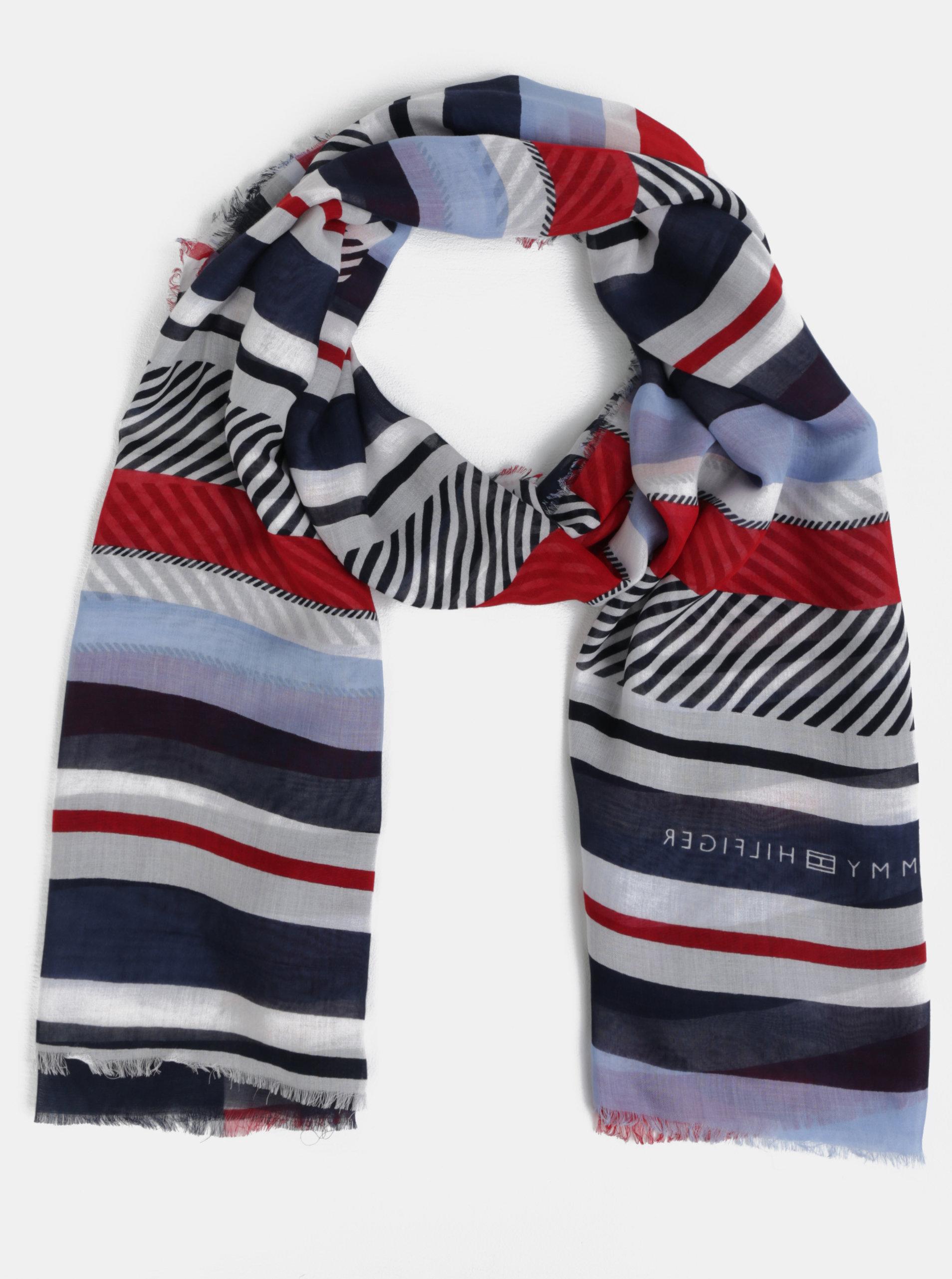 Červeno-modrý pruhovaný šátek Tommy Hilfiger