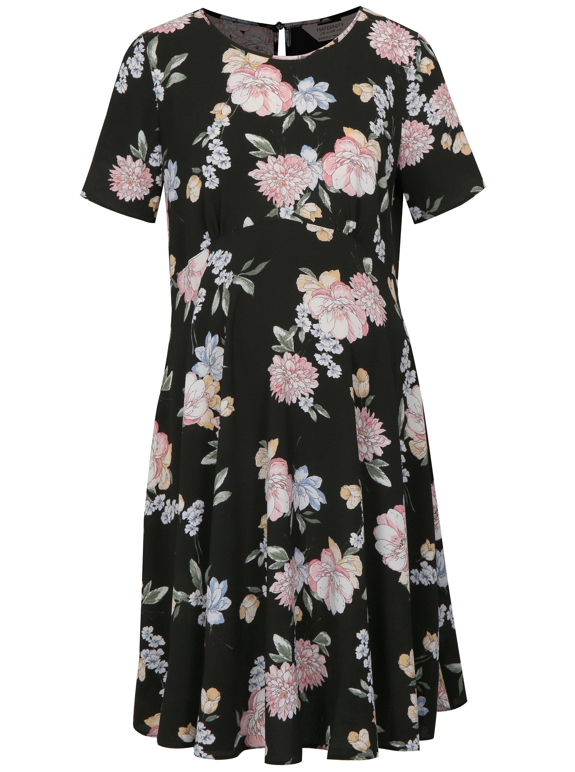 274b6efa6266 Čierne kvetované tehotenské šaty Dorothy Perkins Maternity ...