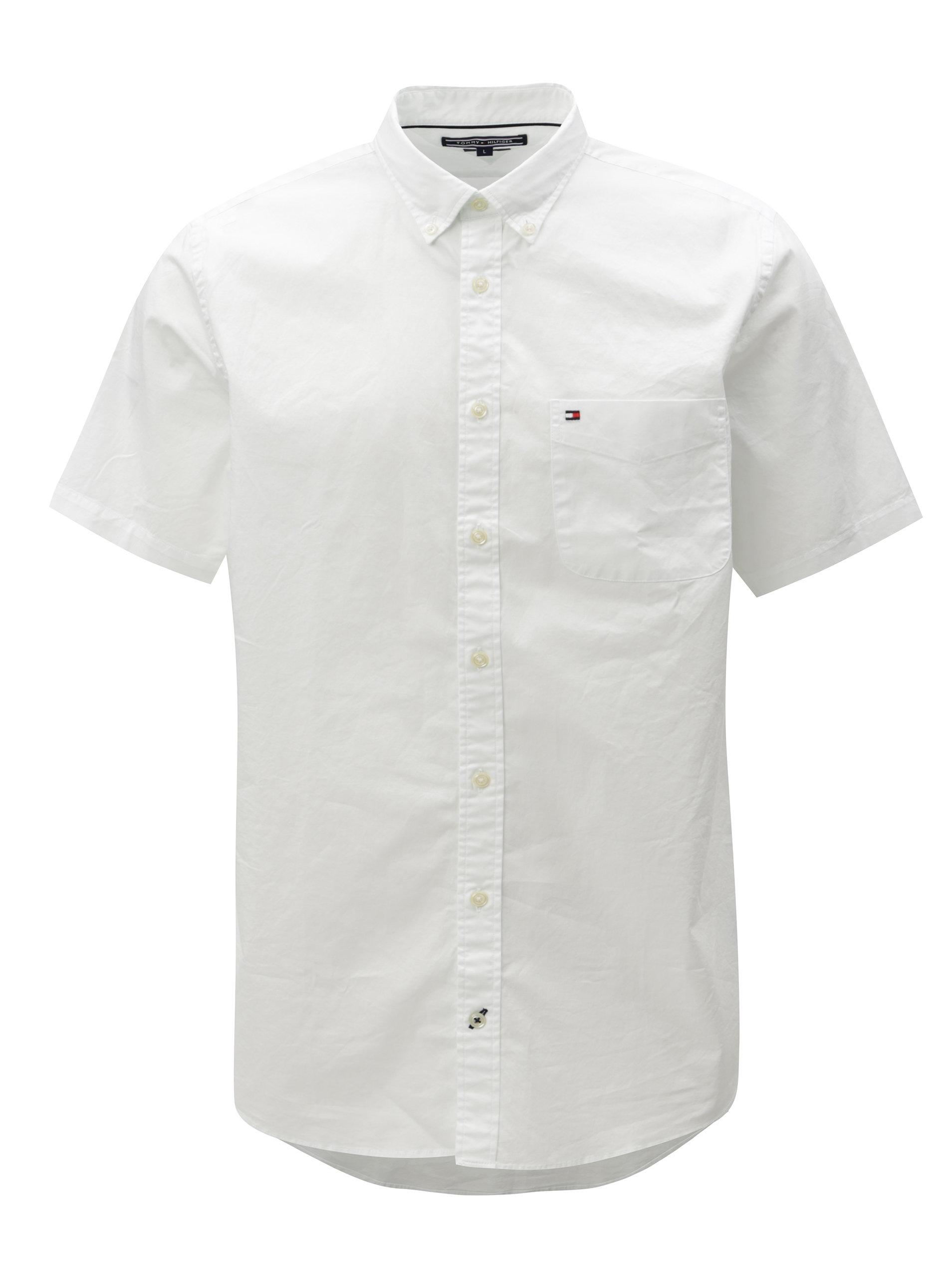a8a52cfcde9e Biela pánska košeľa s krátkym rukávom Tommy Hilfiger ...