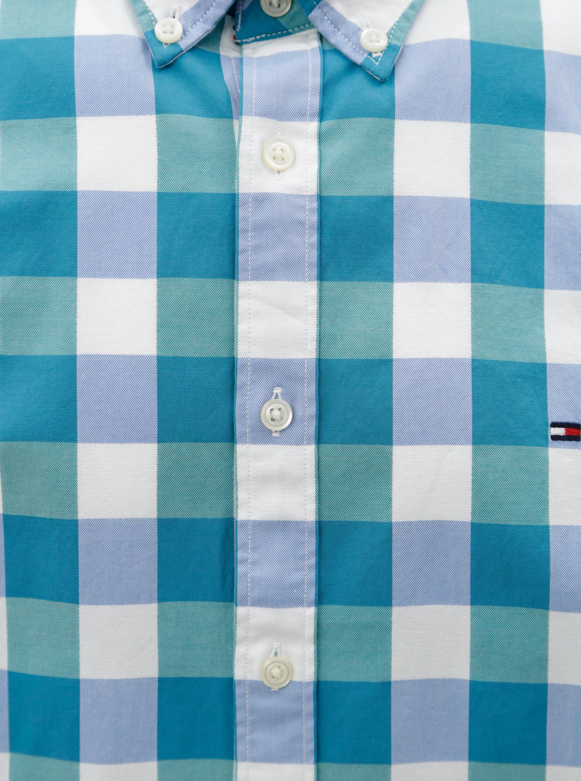 5ac46fde5e48 Bílo-zelená pánská kostkovaná regular fit košile Tommy Hilfiger ...