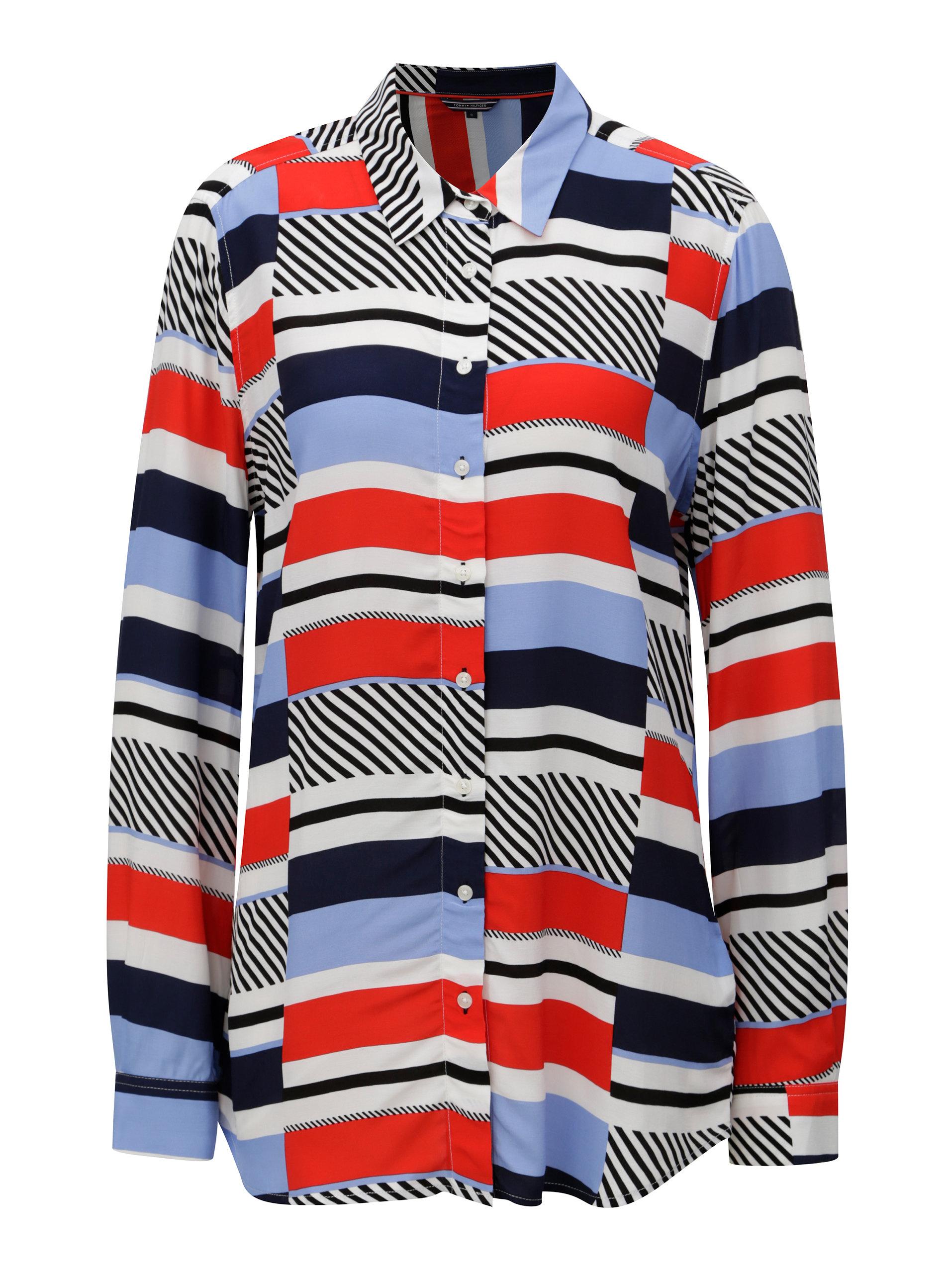 Červeno-modrá dámska pruhovaná košeľa Tommy Hilfiger ... 24de8c27fdb
