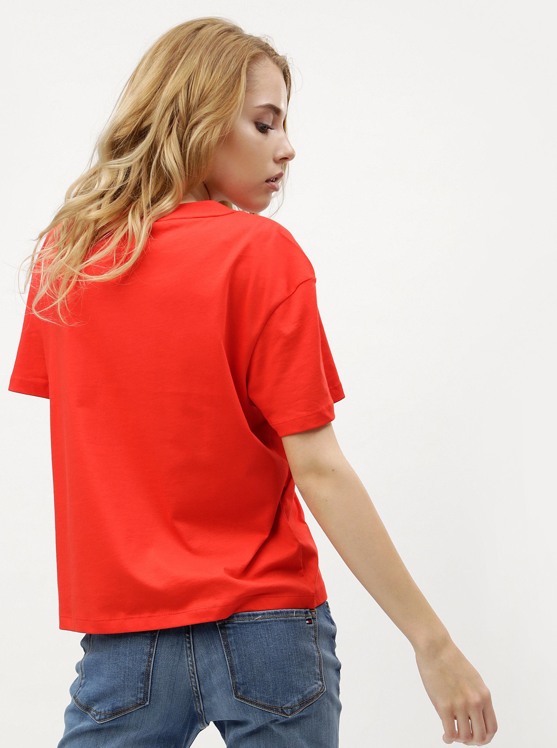 Červené dámské tričko Tommy Hilfiger ... 0d8e6a238c1