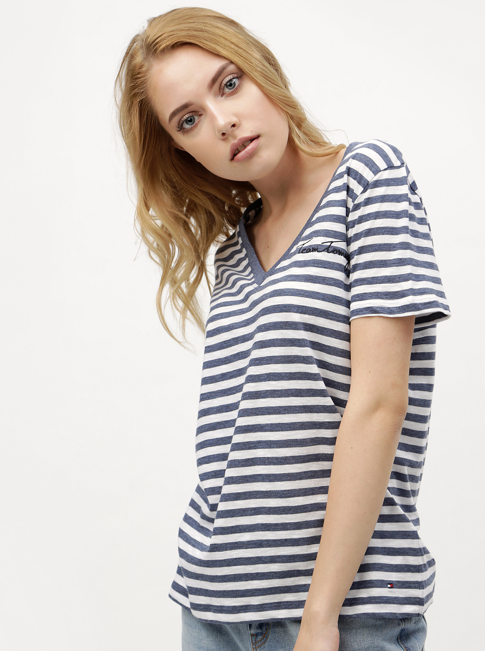 Bielo-modré dámske pruhované tričko Tommy Hilfiger ... 055e9a8ee52