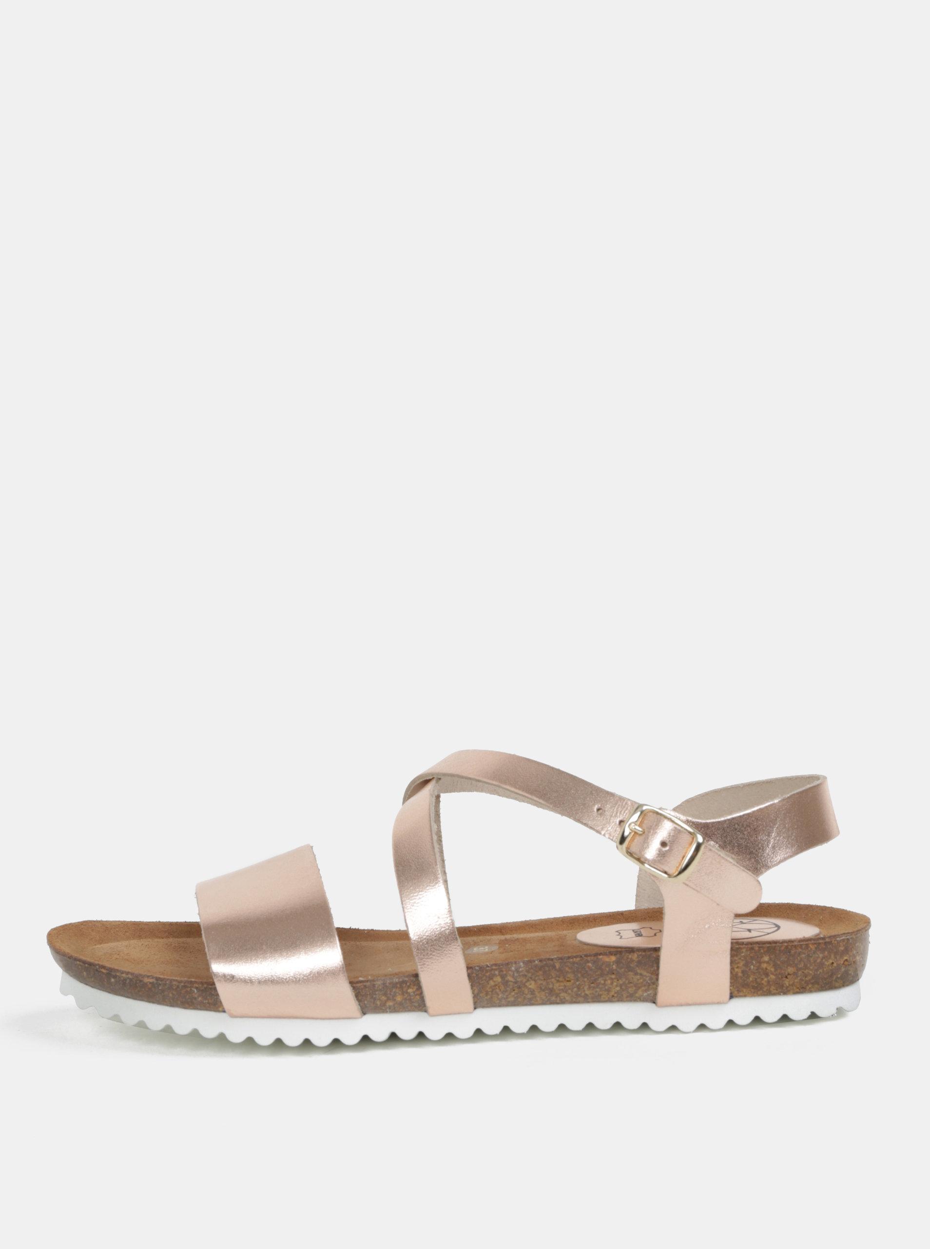 Růžové metalické kožené sandály OJJU