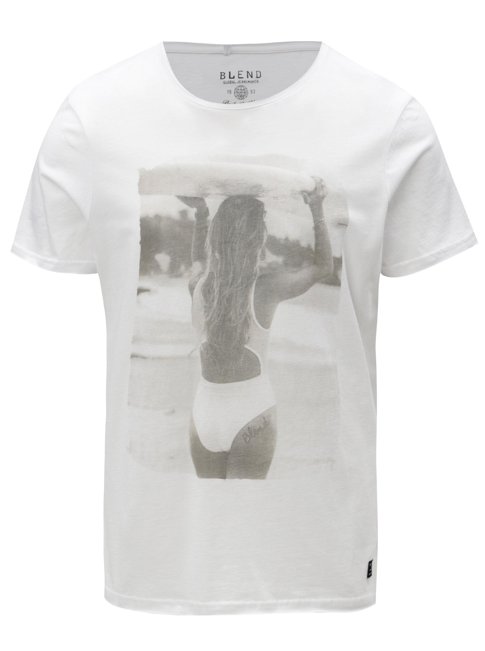 6bfd7183ff1c Biele slim fit tričko s potlačou ženy Blend ...