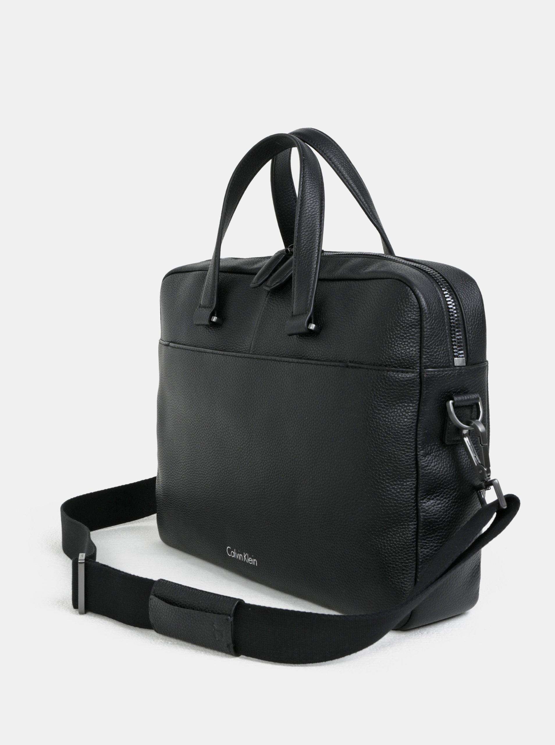 Černá pánská kožená taška na notebook Calvin Klein Jeans 15