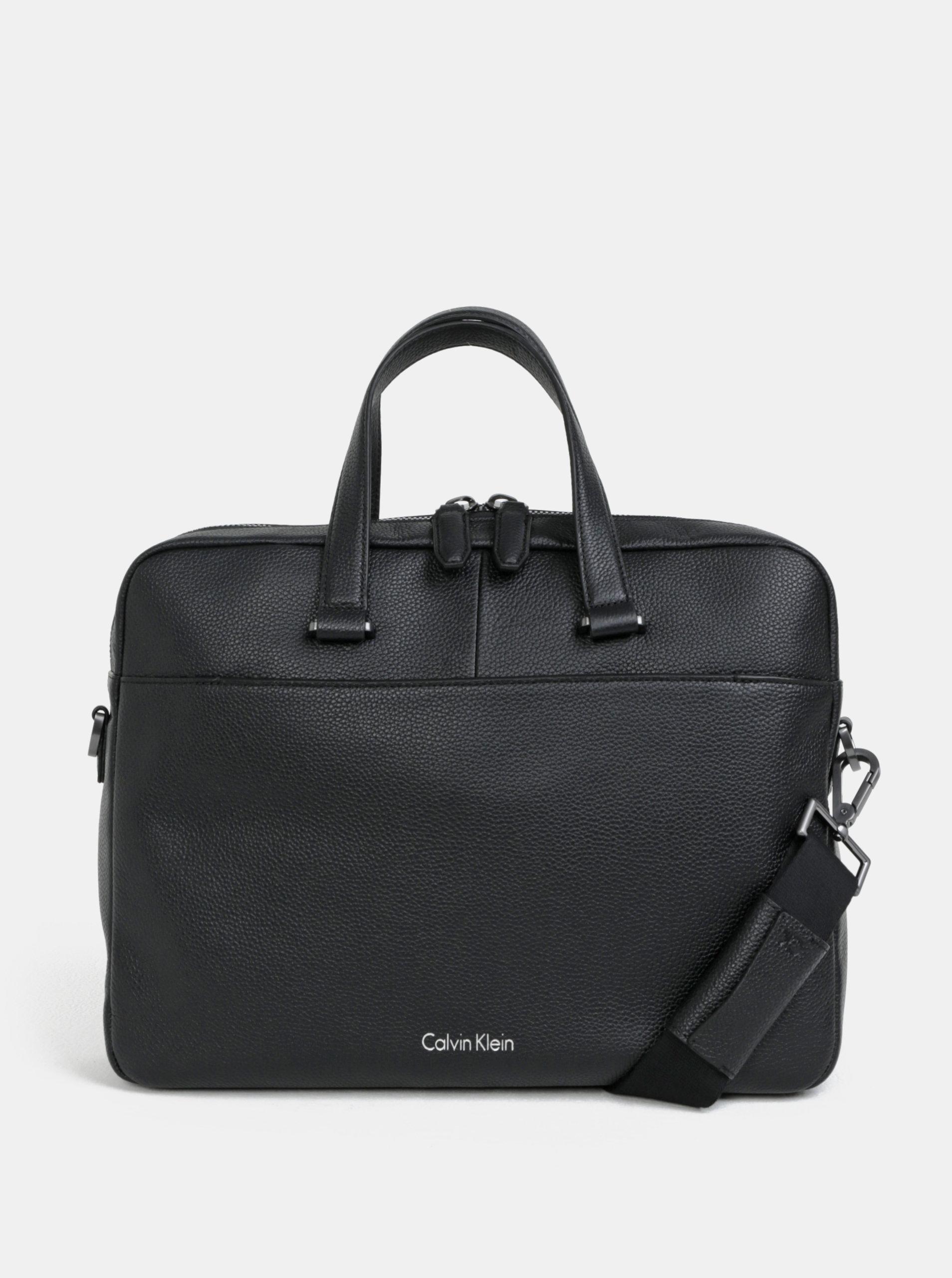"Černá pánská kožená taška na notebook Calvin Klein Jeans 15"""