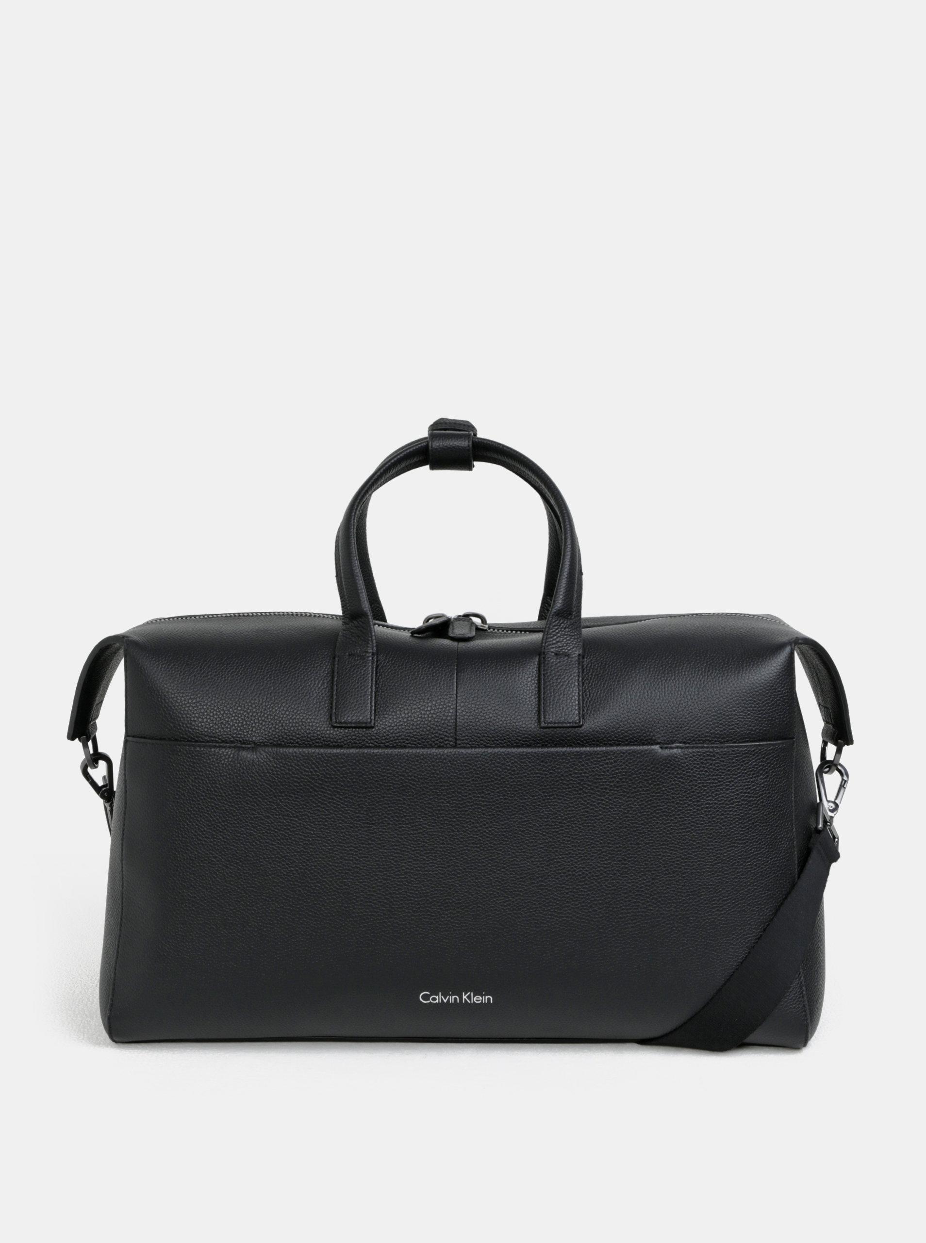 05e10226ae Čierna kožená cestovná taška s vakom Calvin Klein Jeans ...