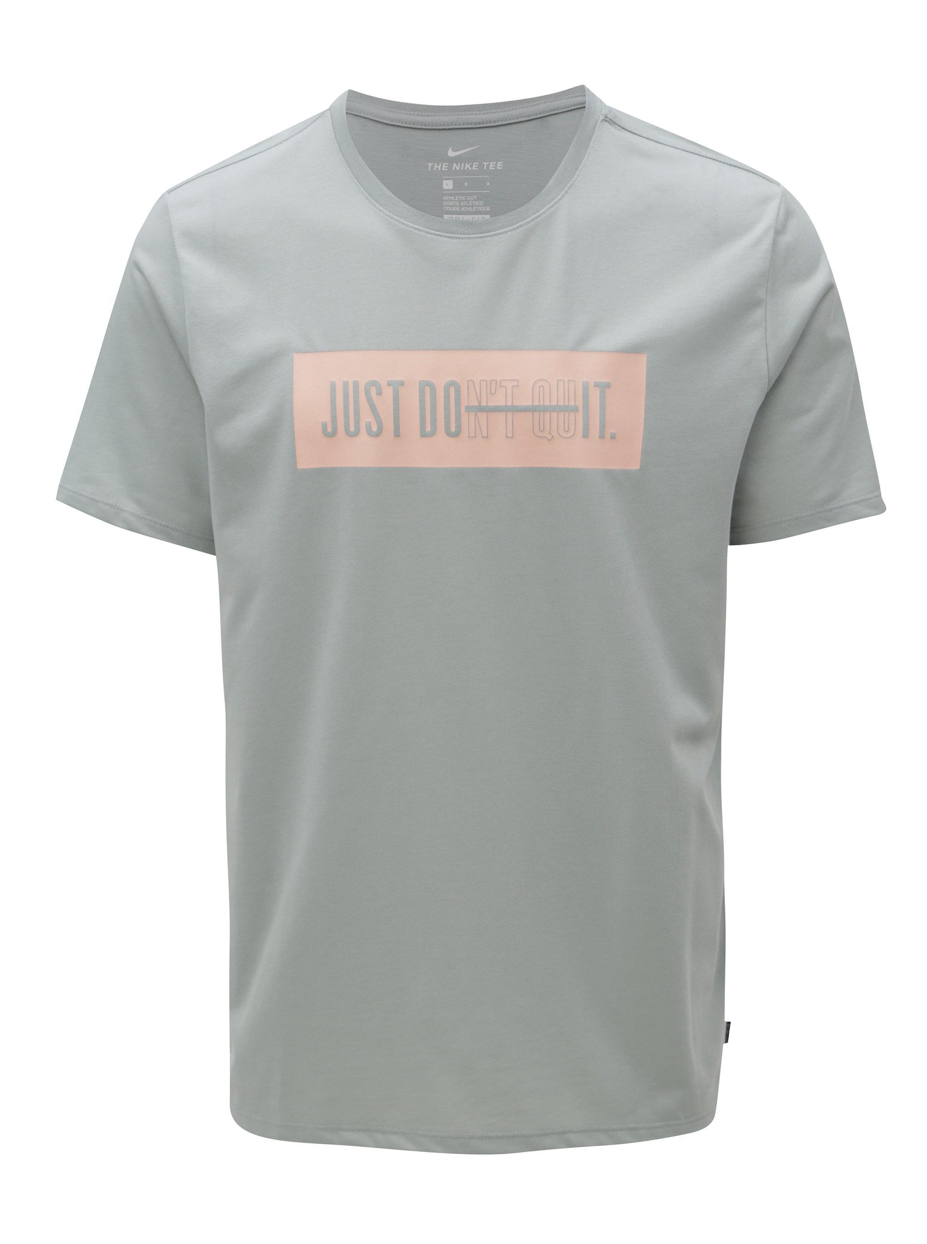 Světle šedé pánské funkční tričko s potiskem Nike ... 5f2cbb48c3