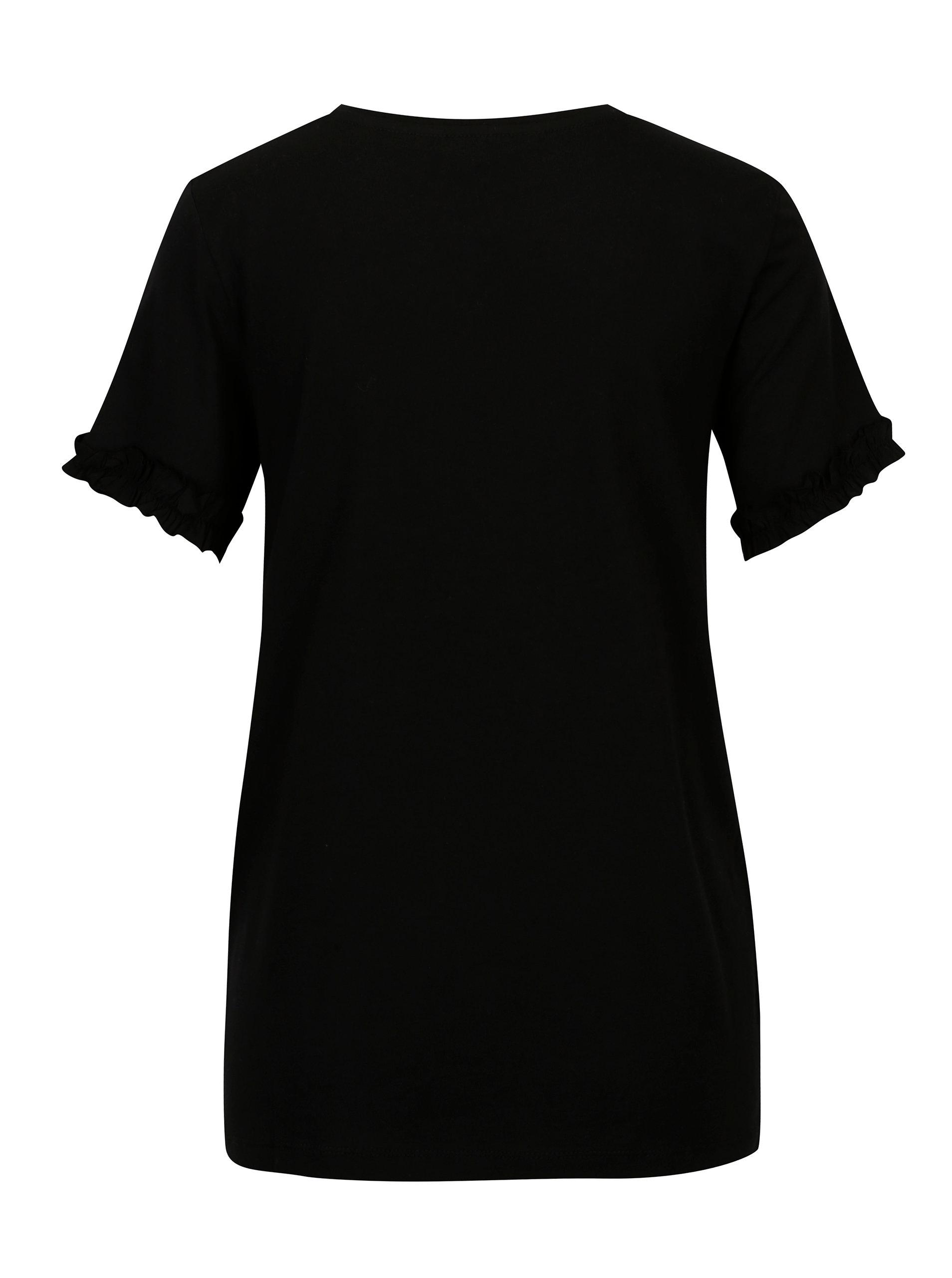 185c2e11aea Černé tričko s krátkým rukávem a volány Dorothy Perkins ...