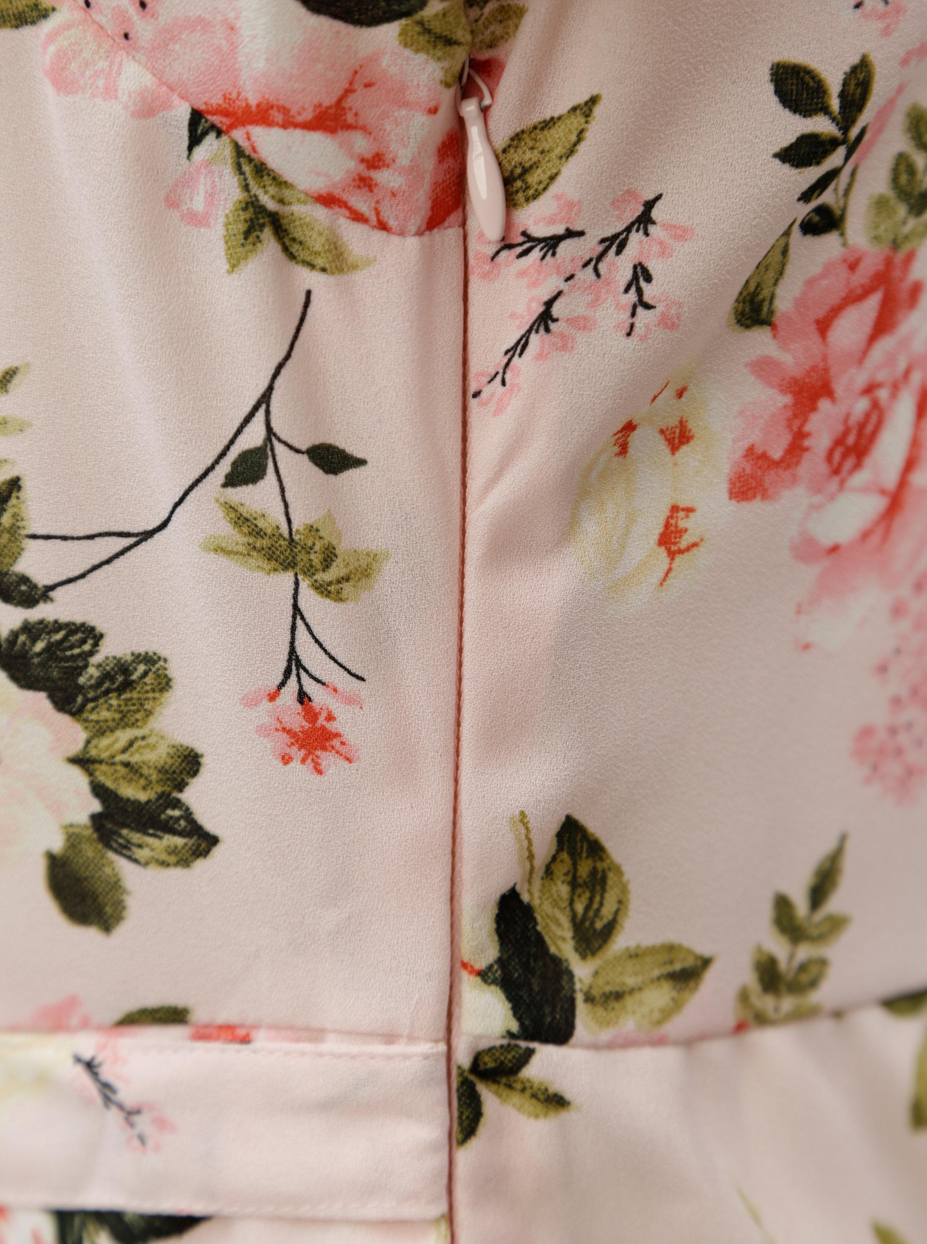 Svetloružové kvetované maxišaty s volánmi Dorothy Perkins Petite ... a0c5a2f3739