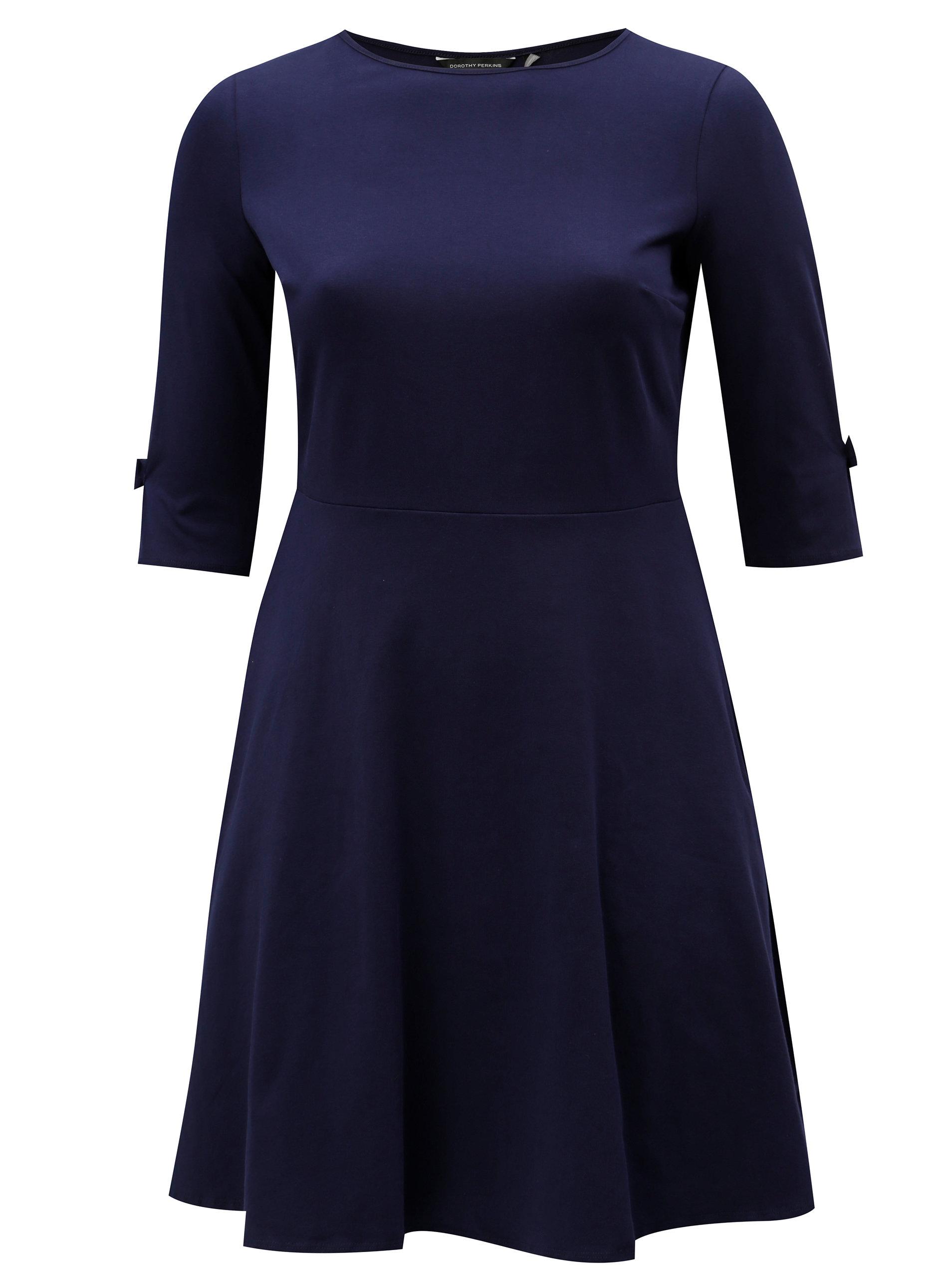 e5e82d16f6cb Tmavomodré šaty s 3 4 rukávmi Dorothy Perkins Curve ...
