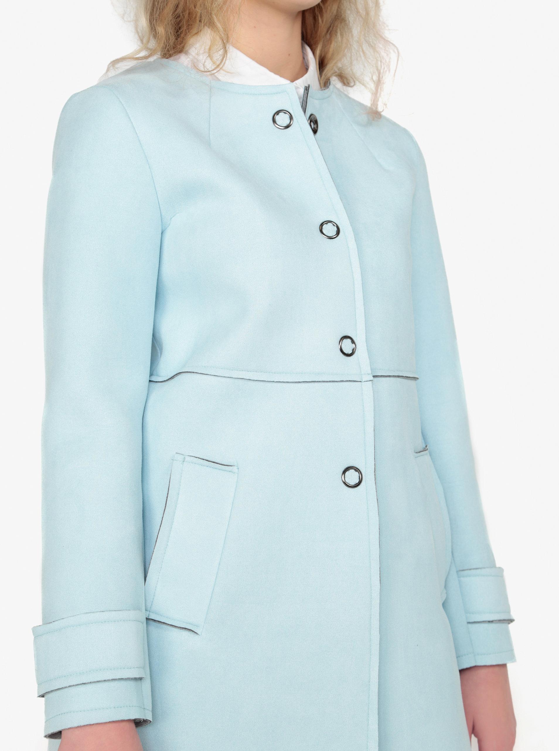 Světle modrý kabát v semišové úpravě ZOOT ... 349a10cb548