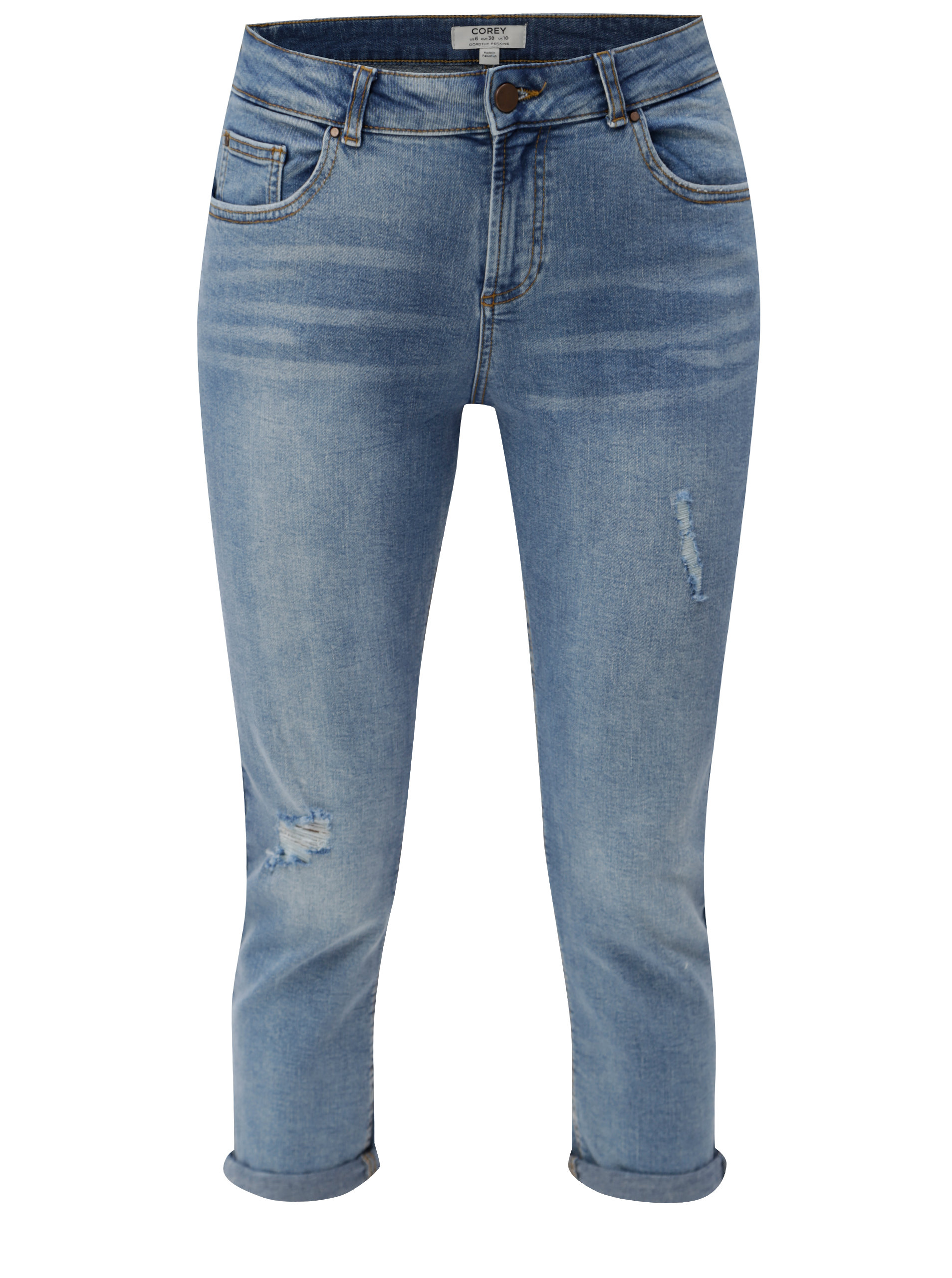 8762e8069393 Modré 3 4 slim džíny s potrhaným efektem Dorothy Perkins