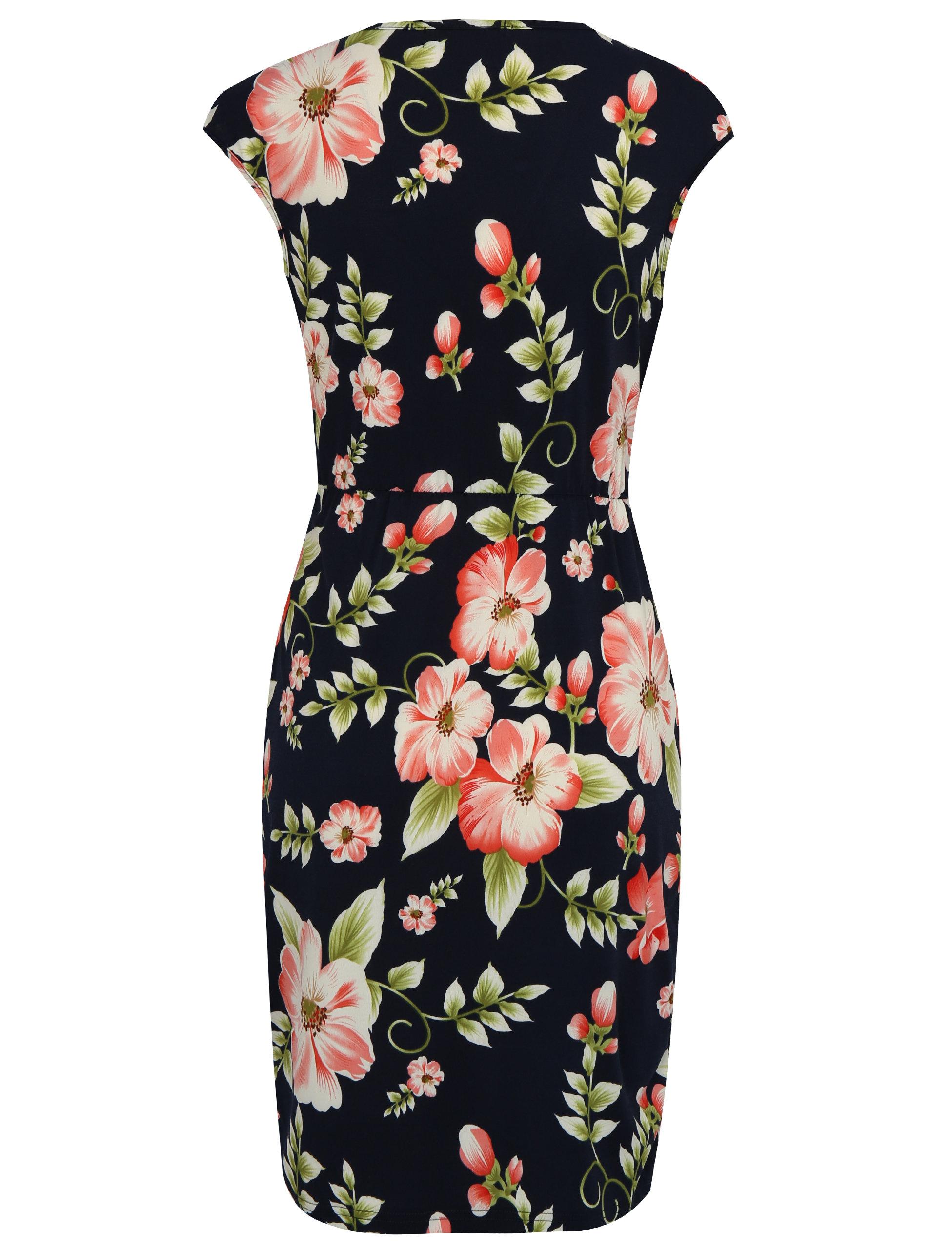 Tmavomodré kvetované šaty s kovovou aplikáciou Mela London ... 6342b0c41f0