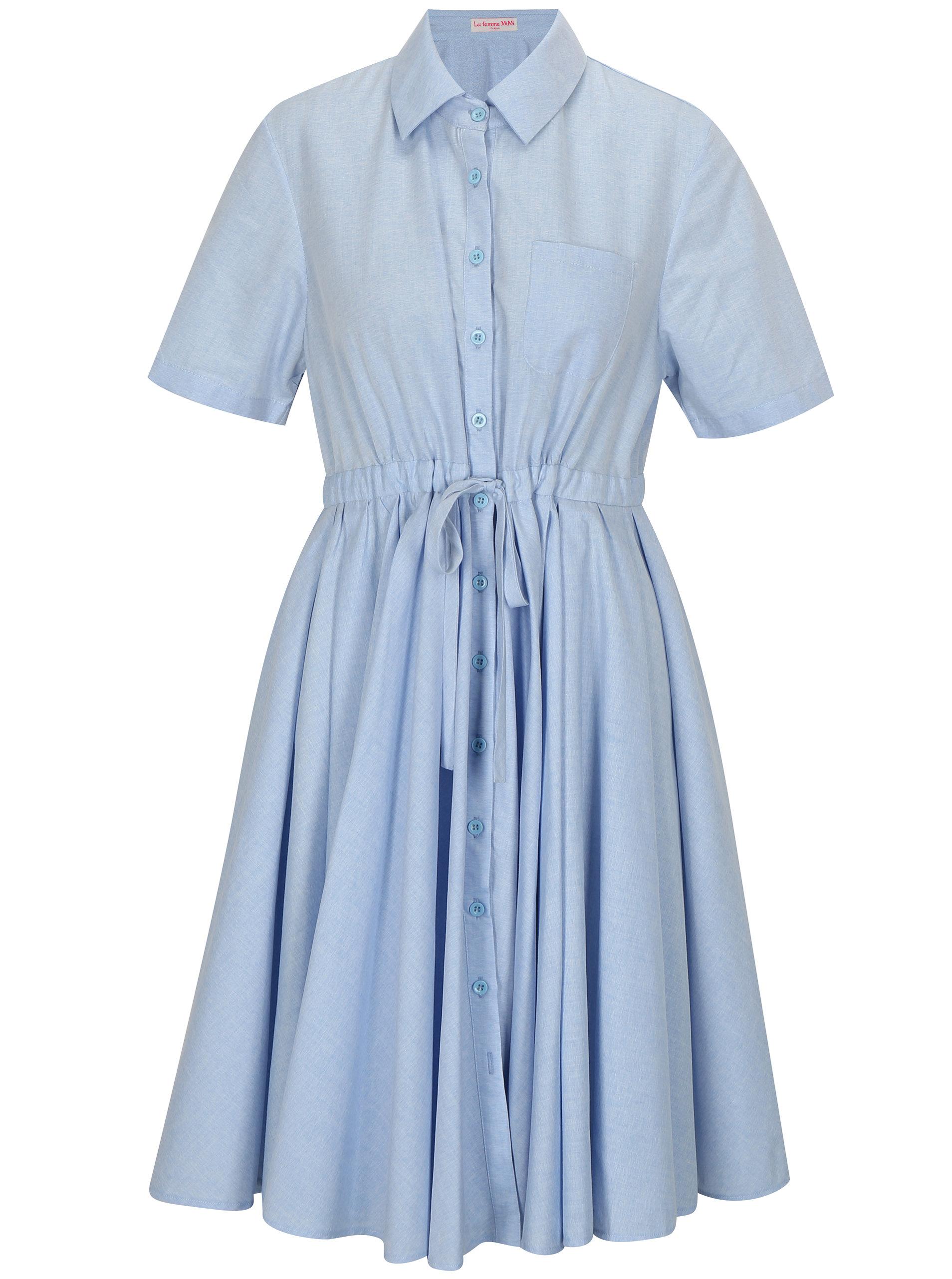 94da91ee9f38 Svetlomodré košeľové šaty La femme MiMi ...