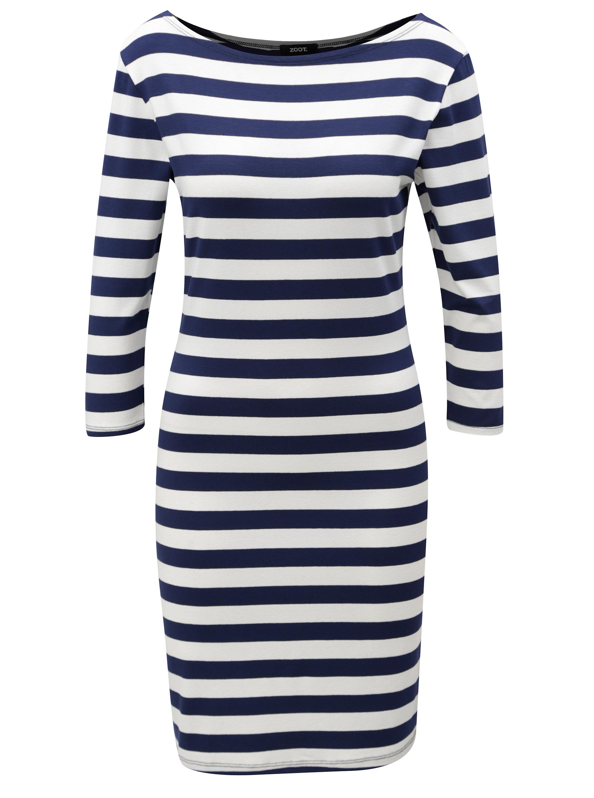 Modro-bílé pruhované šaty s 3 4 rukávem ZOOT ... f192785e81