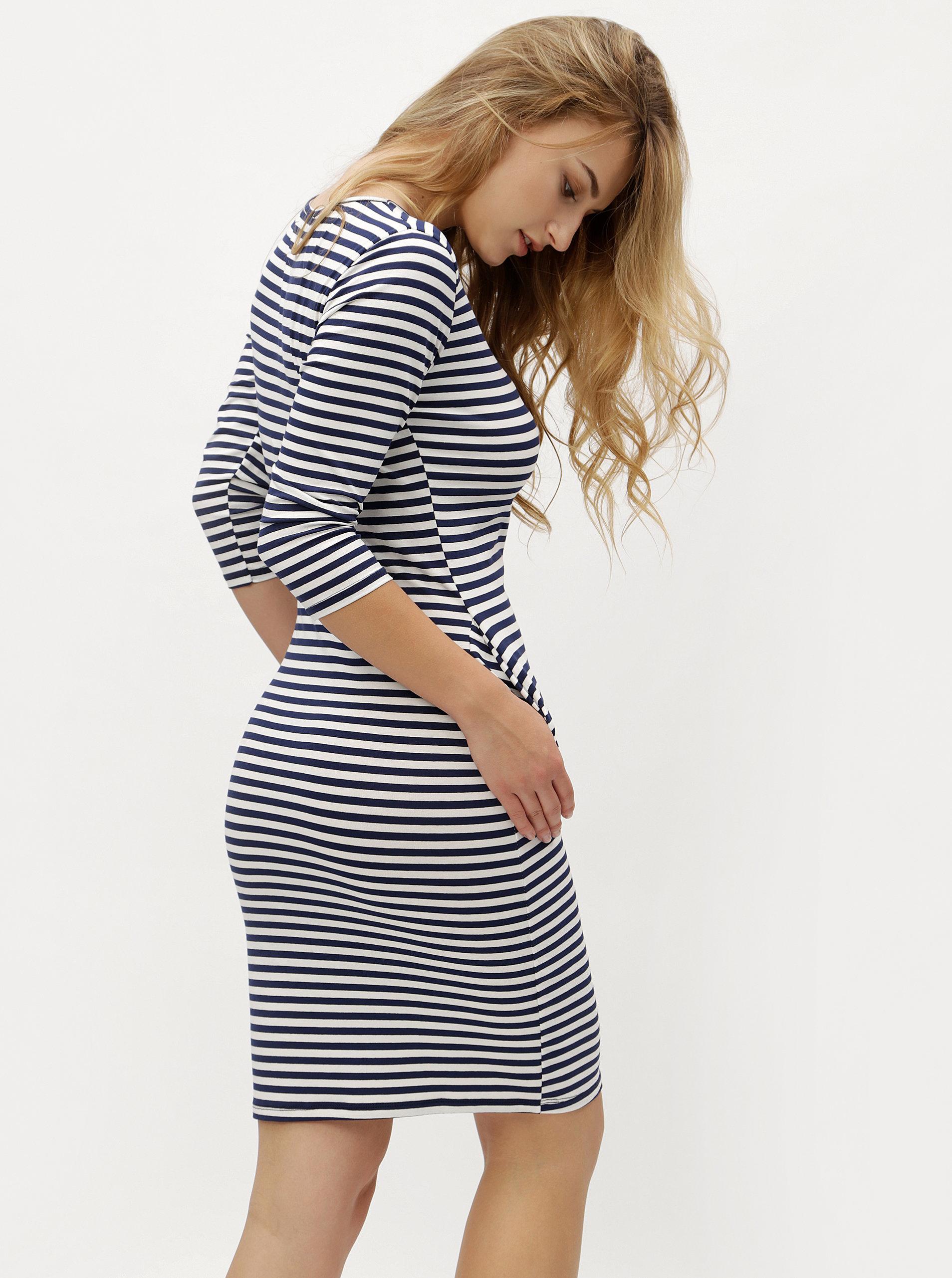 Modro-biele pruhované šaty s vreckami ZOOT ... a63efc102c5