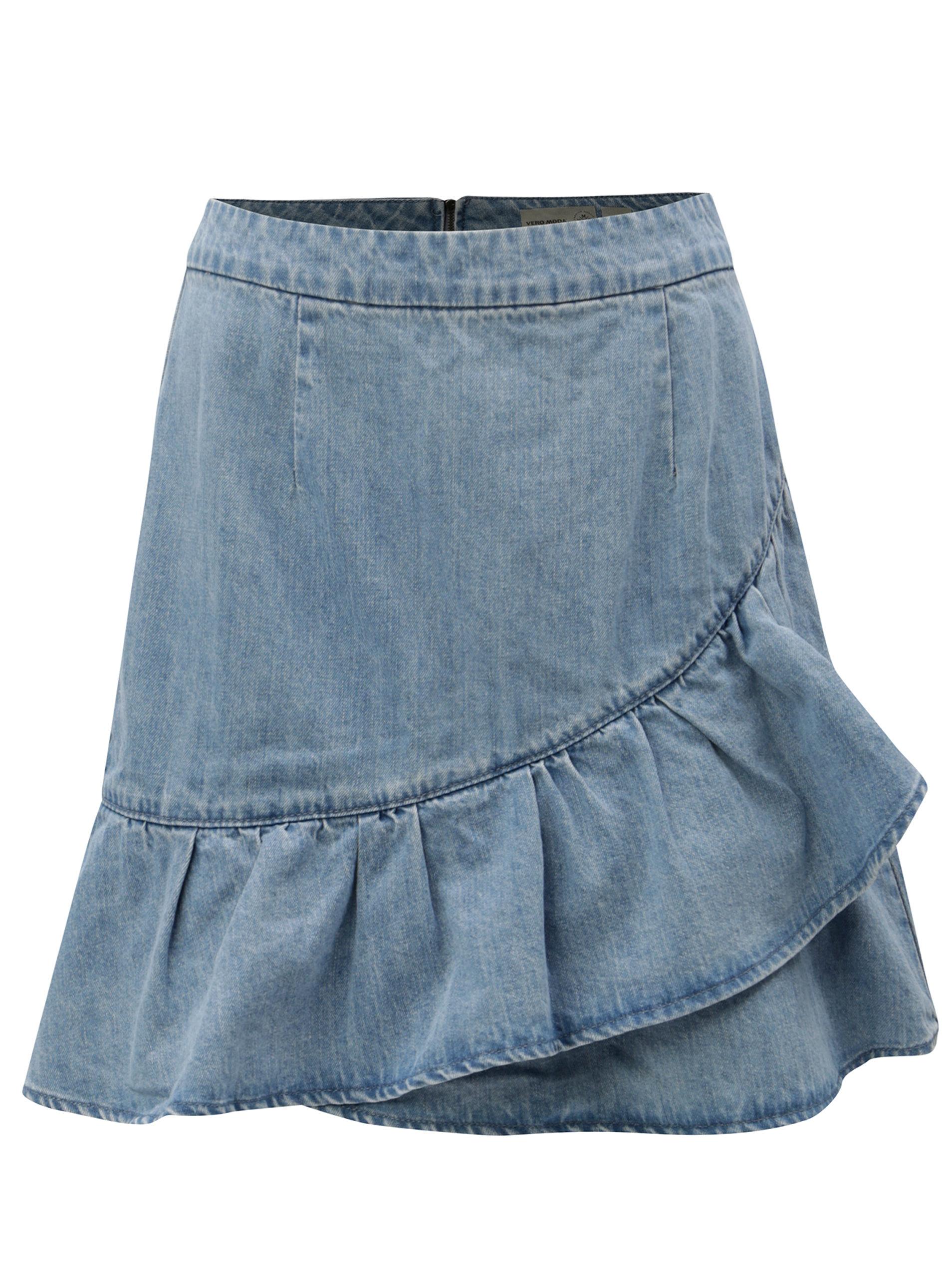 Světle modrá džínová sukně s volánem VERO MODA Penny ... 6ba2bcd667