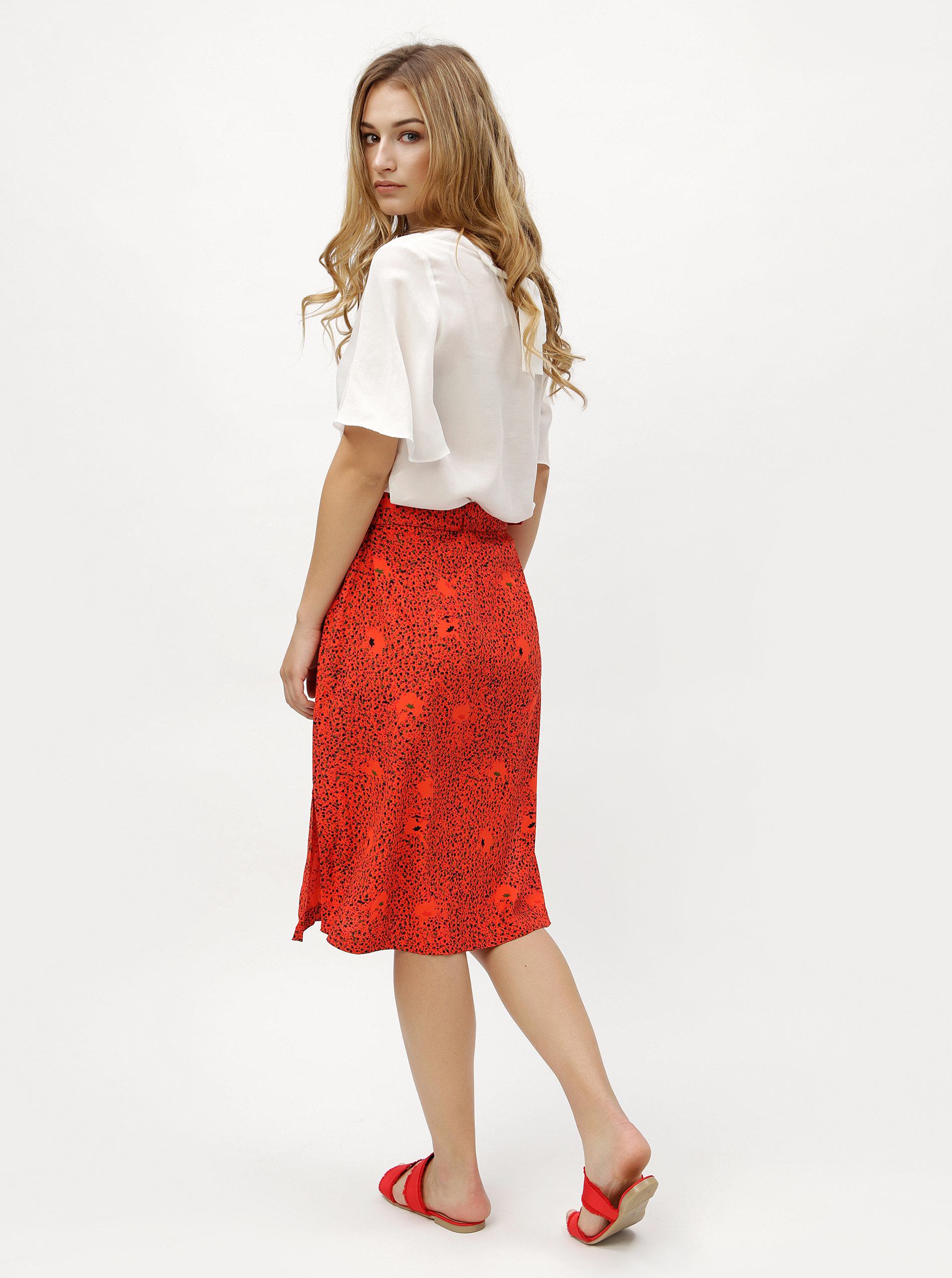 9f363e898679 Červená vzorovaná sukňa s opaskom VERO MODA Madeleine ...