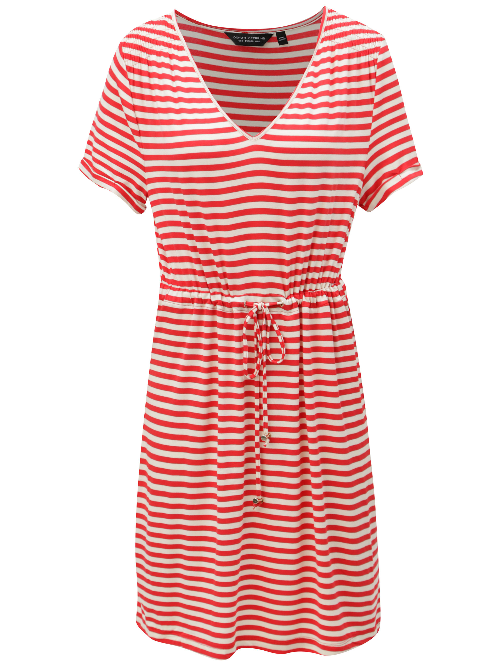 c4a2ff2416ac Krémovo-červené pruhované šaty Dorothy Perkins ...