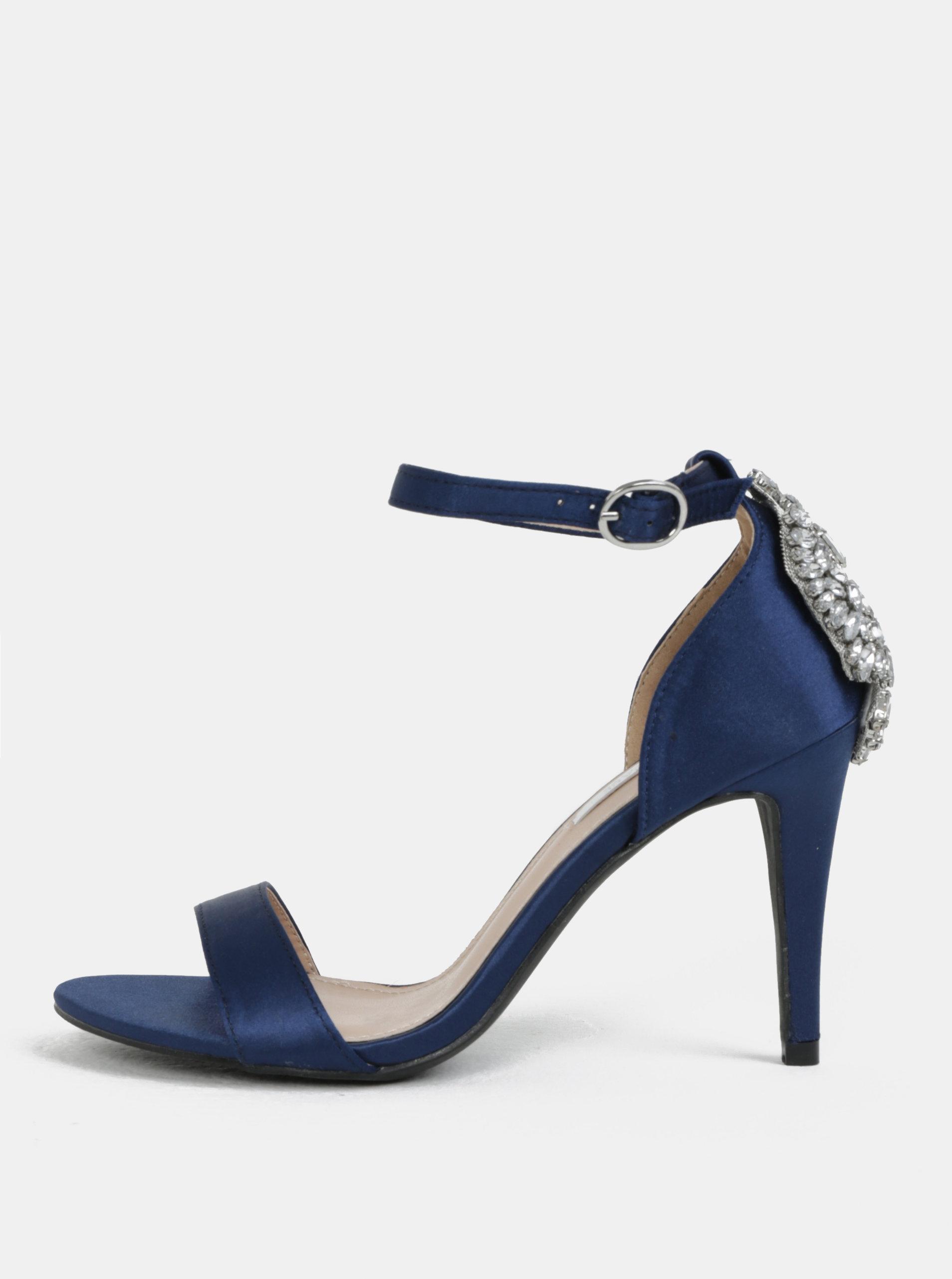 Modré sandálky s ozdobnou aplikací na patě Dorothy Perkins