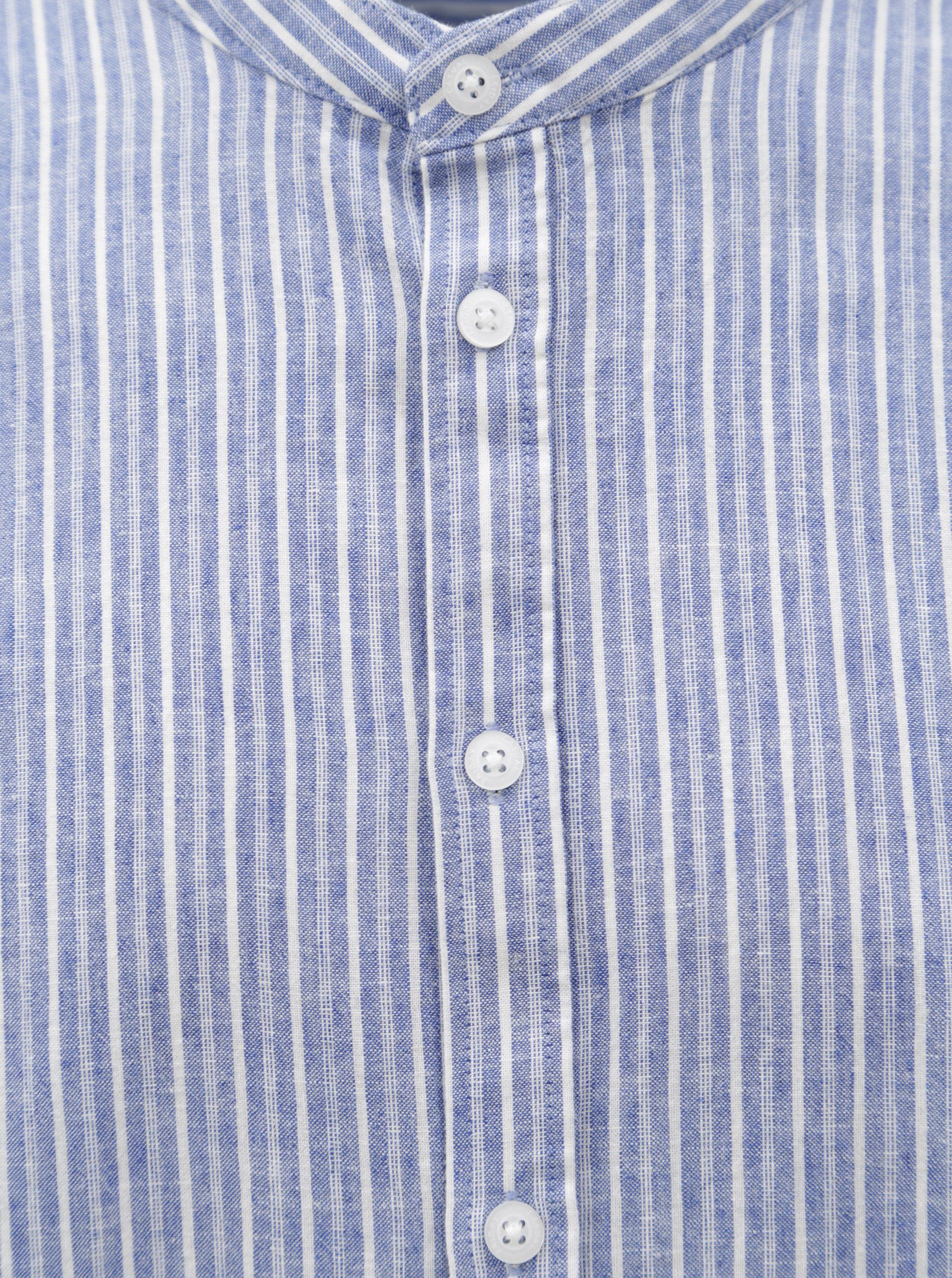 Modrá pruhovaná regular fit košile bez límečku Casual Friday by Blend ... de66aff841