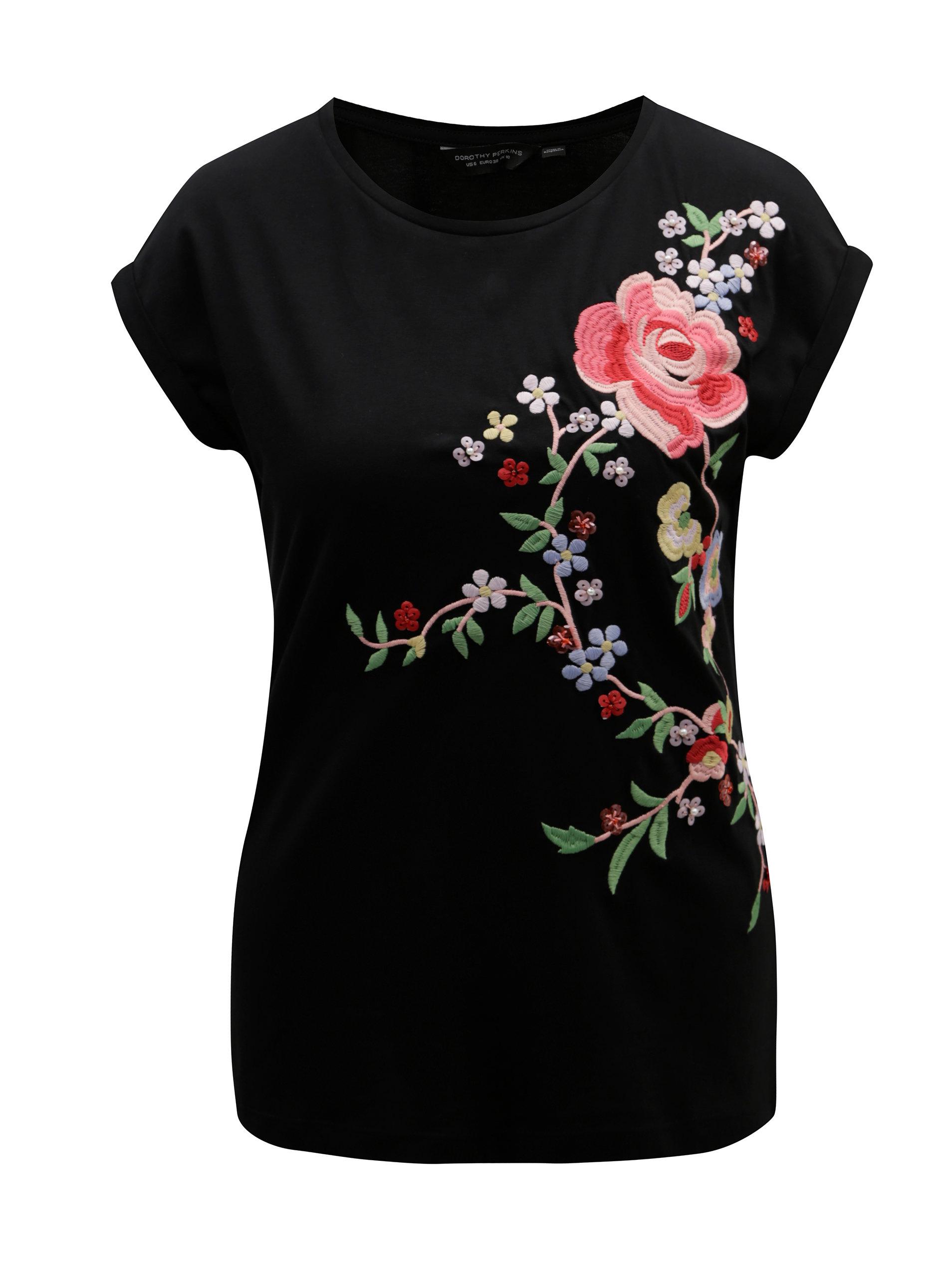Černé tričko s nášivkou květiny Dorothy Perkins ... cb7cf28bb3