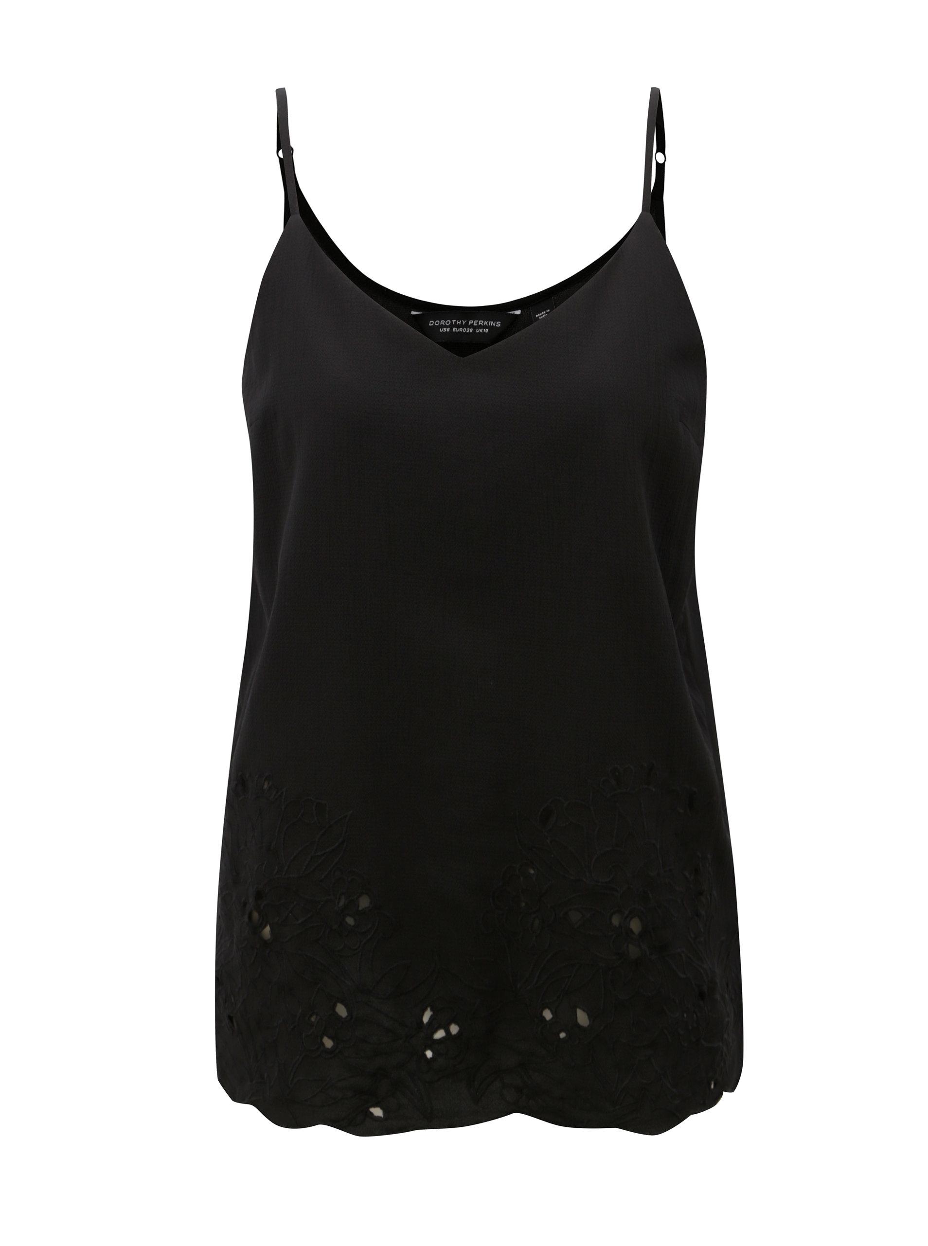 Černé tílko s dírkovaným vzorem Dorothy Perkins ... bb987cfd6b