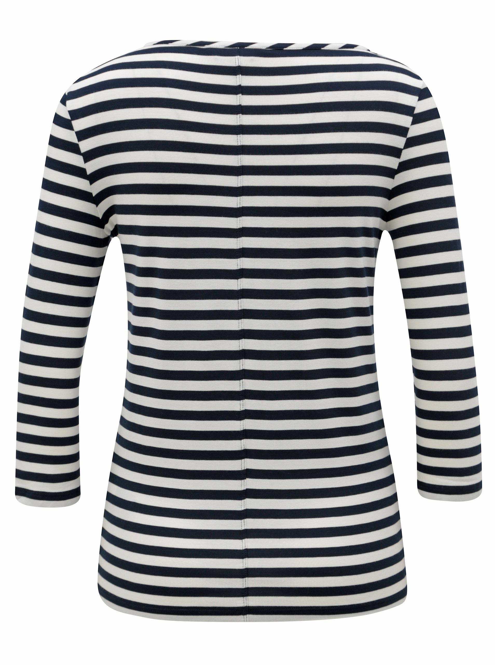 c4827044e5d Bílo-modré dámské pruhované tričko s 3 4 rukávem Tommy Hilfiger ...