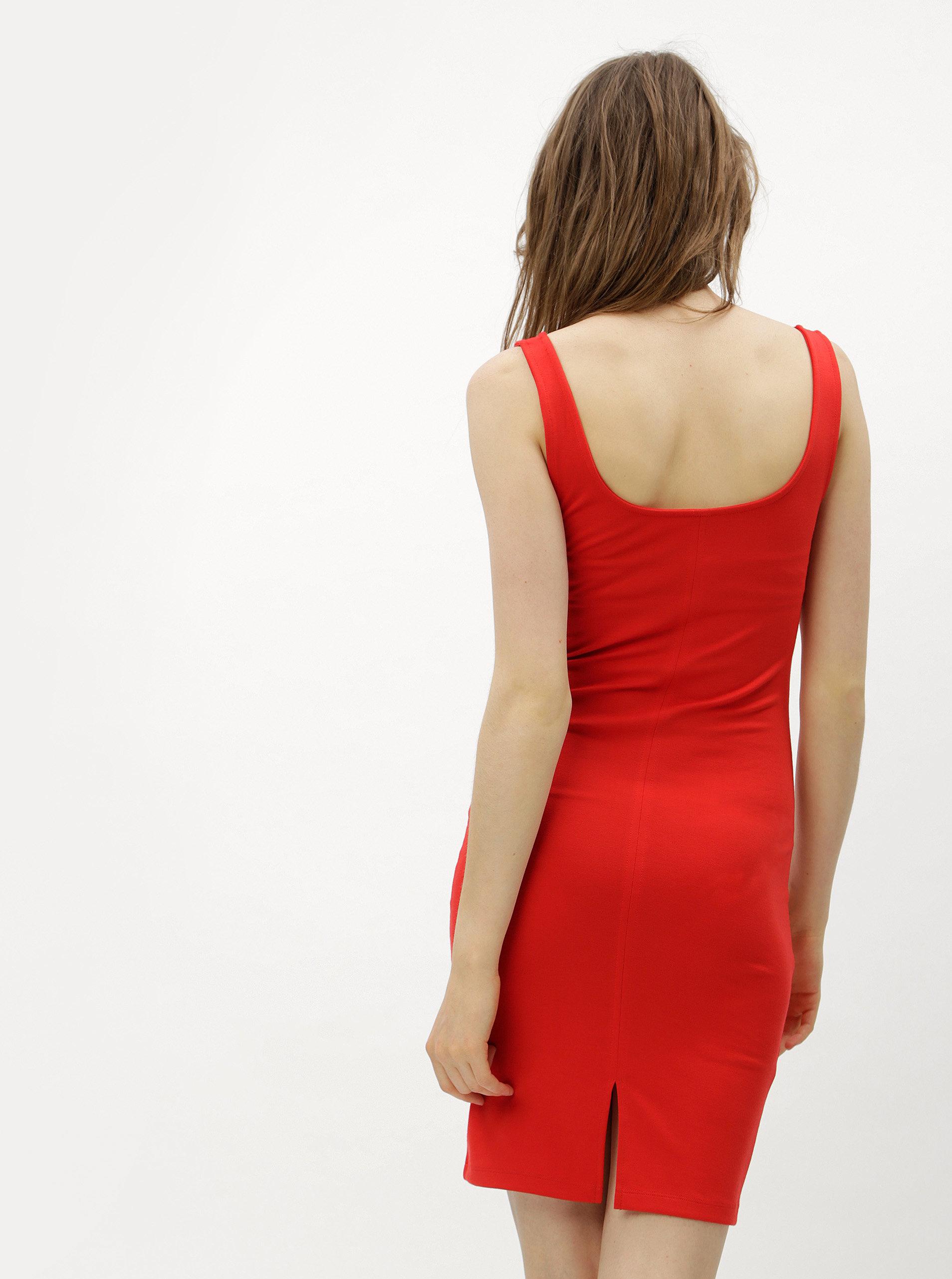 b2b469daecd Červené pouzdrové šaty s rozparkem ONLY Brenda ...