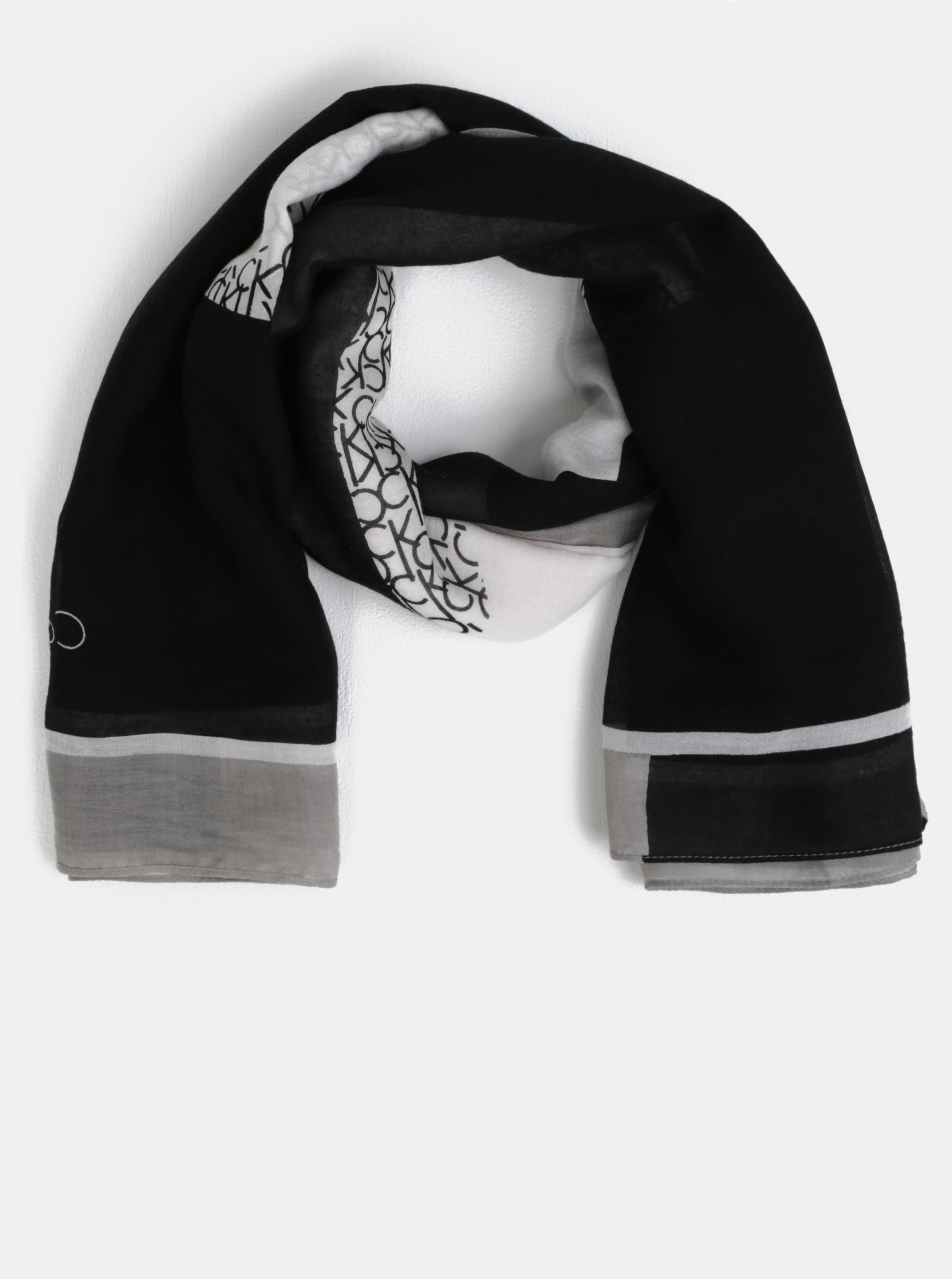 Bílo-černý dámský šátek Calvin Klein Jeans