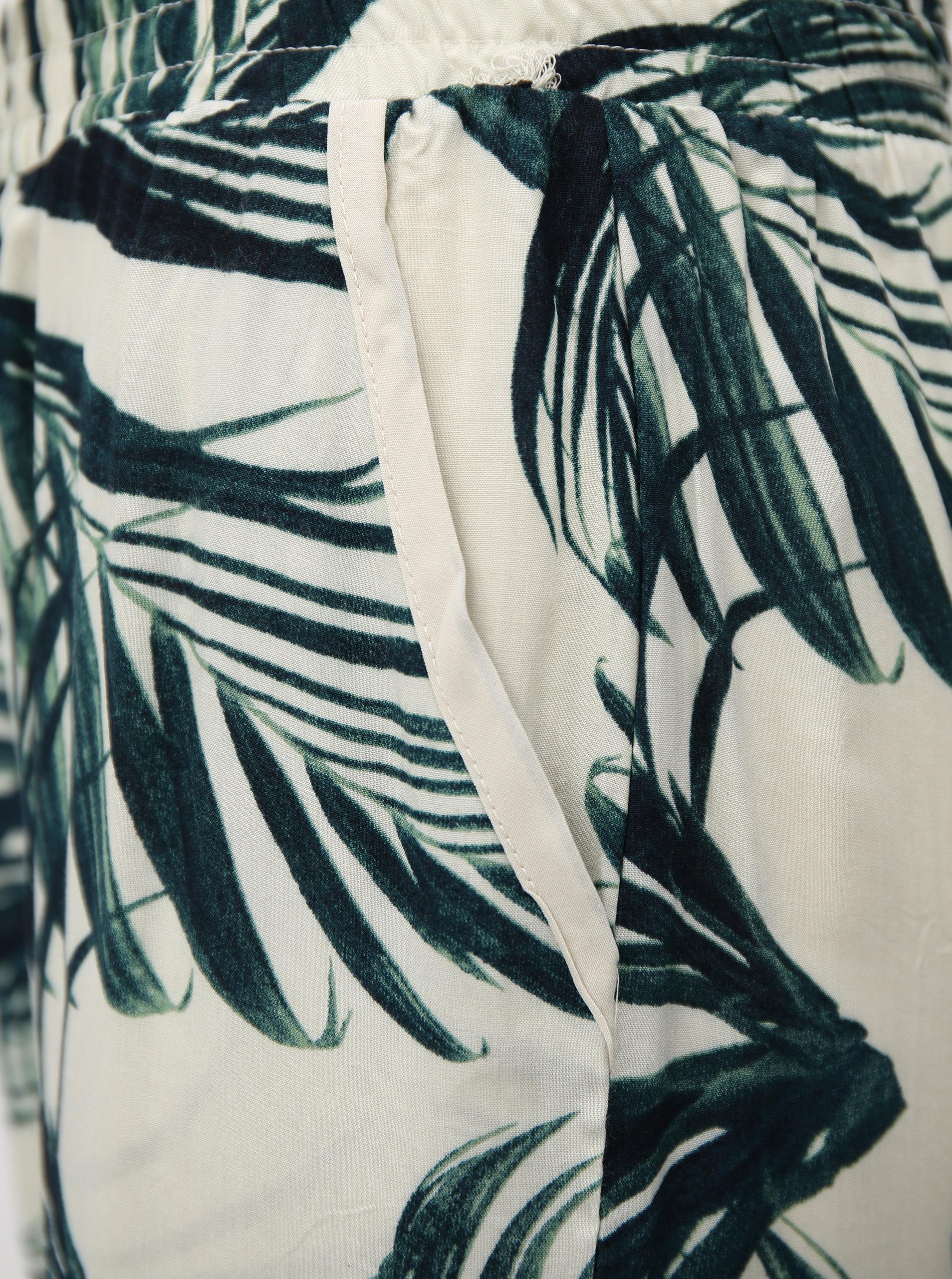 2777f55aaed3 Zeleno-krémové vzorované voľné nohavice s vysokým pásom Haily s Ricky ...