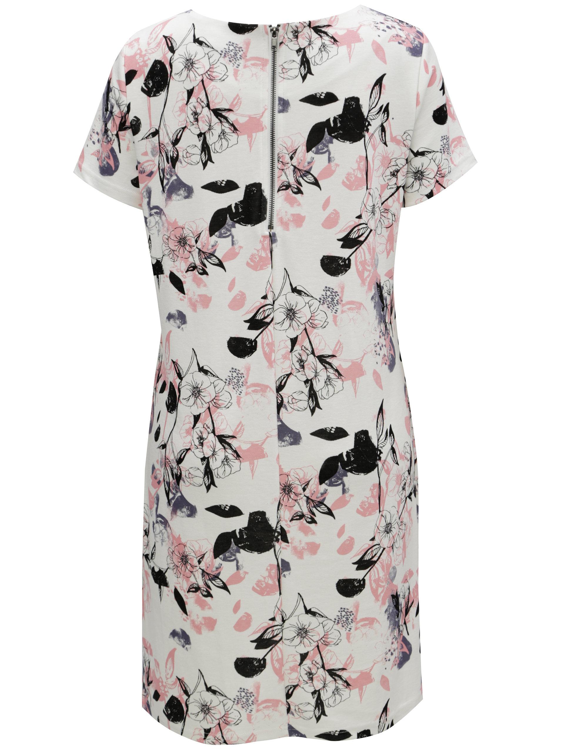 8543721fef66 Růžovo-bílé květované šaty VILA Tinny ...