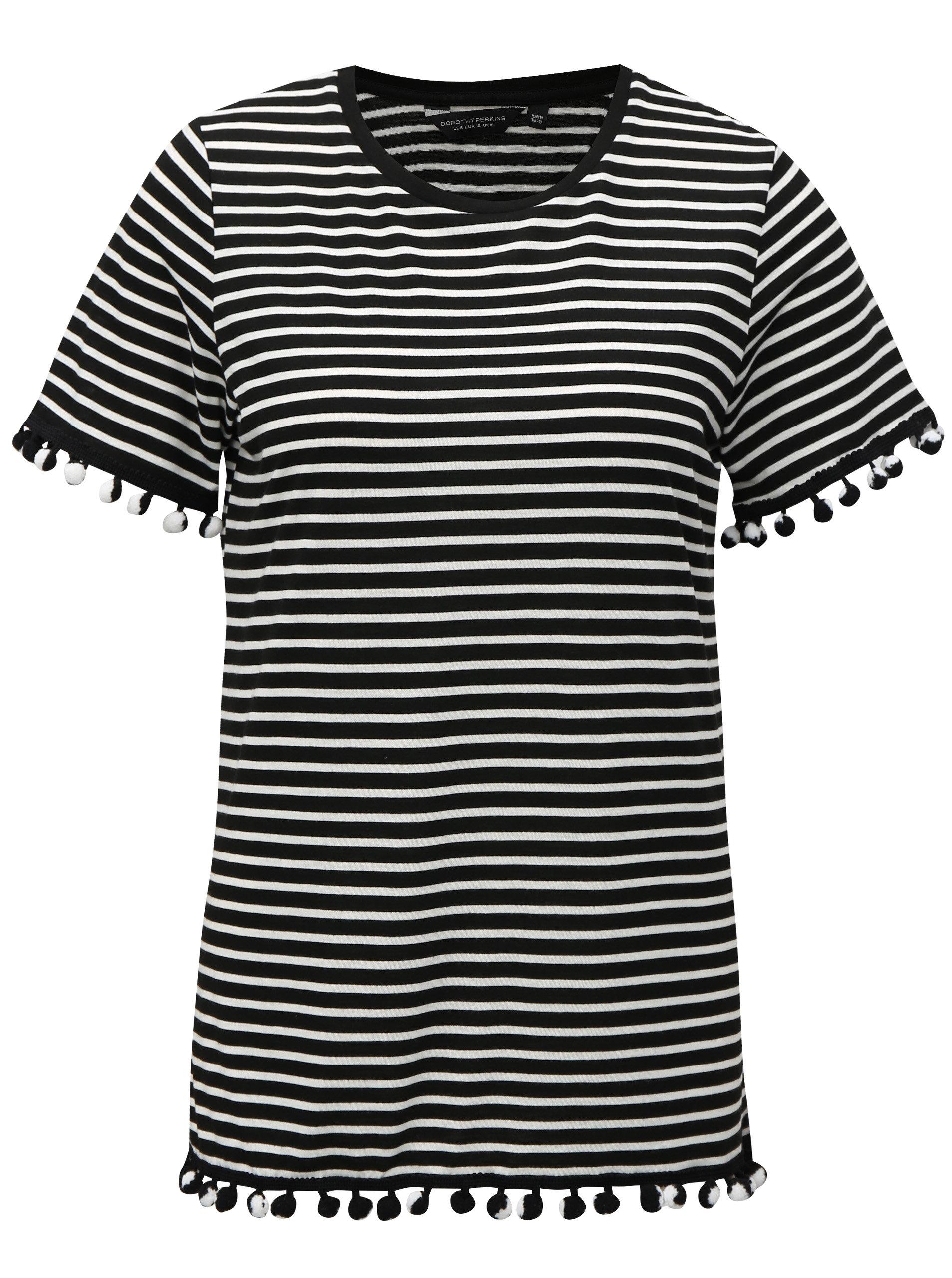 Bílo-černé pruhované tričko s bambulemi Dorothy Perkins