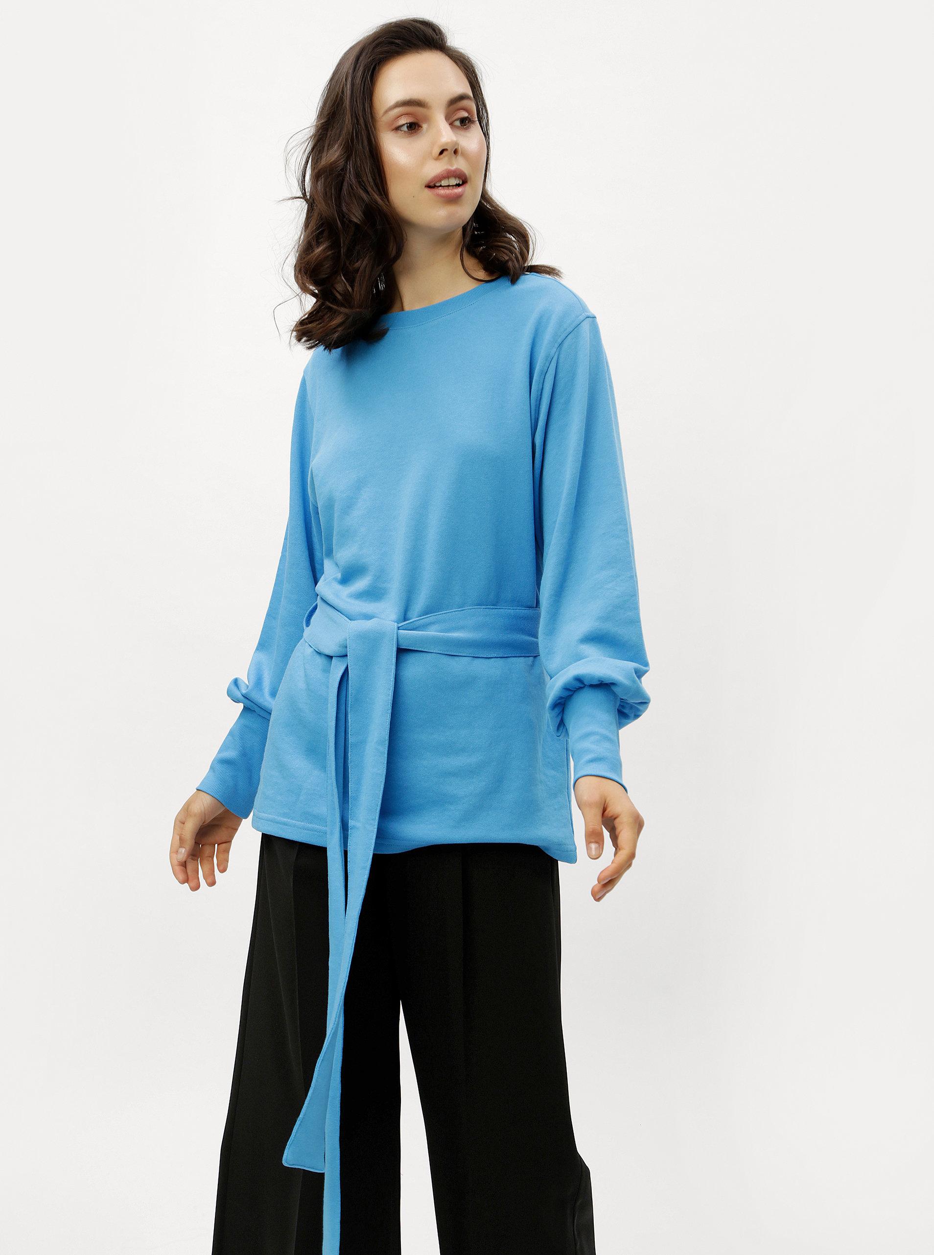 Modrá dlhá mikina s opaskom Jacqueline de Yong ... 368b3669e10
