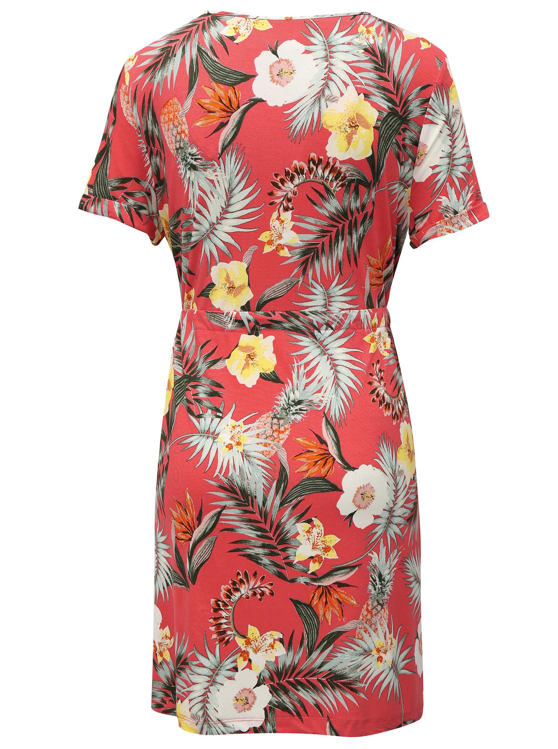 67488dbd6844 Koralové vzorované šaty so zaväzovaním Dorothy Perkins ...