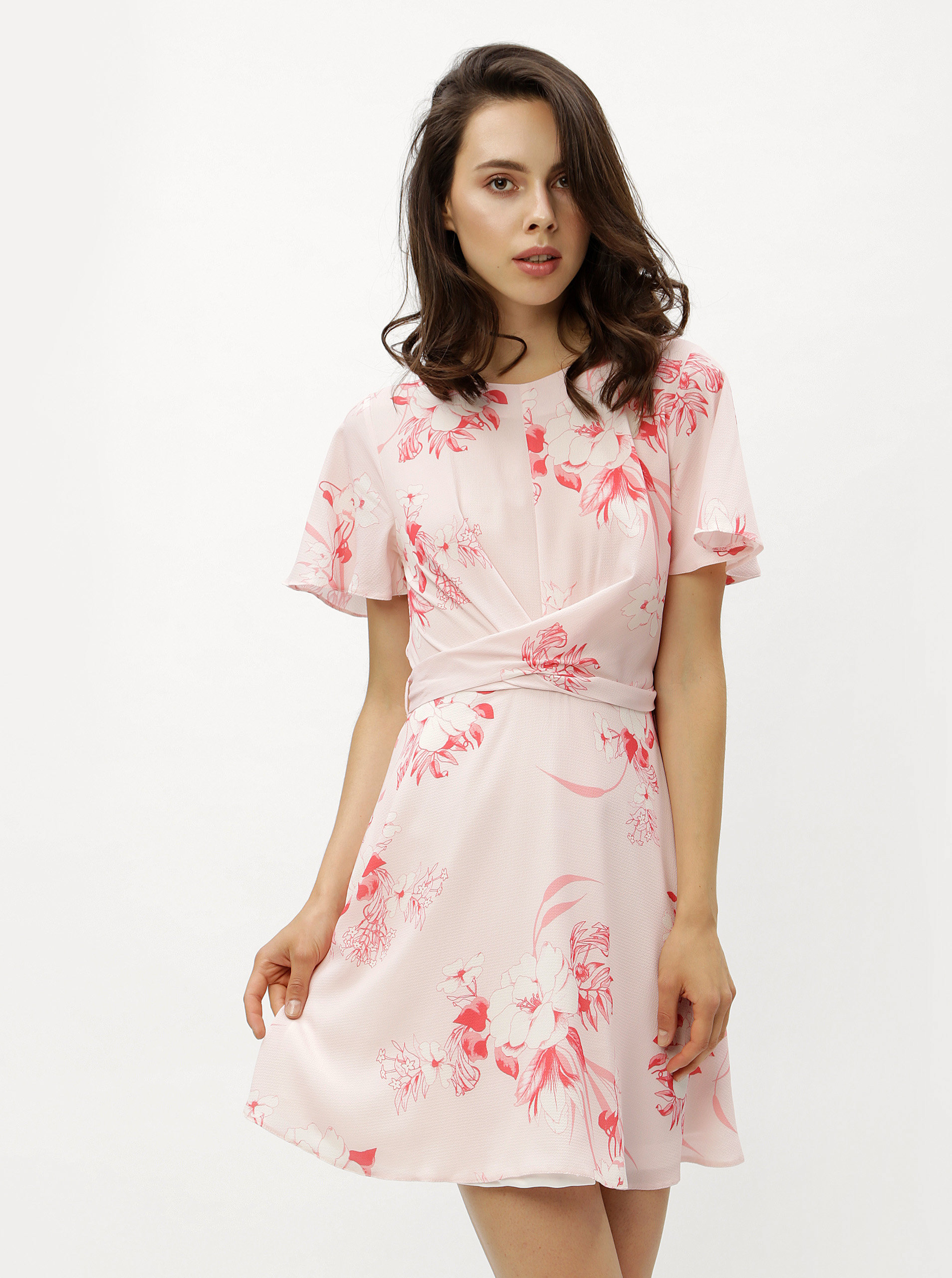 Růžové květované šaty se zavazováním Miss Selfridge ... 7f525b1110