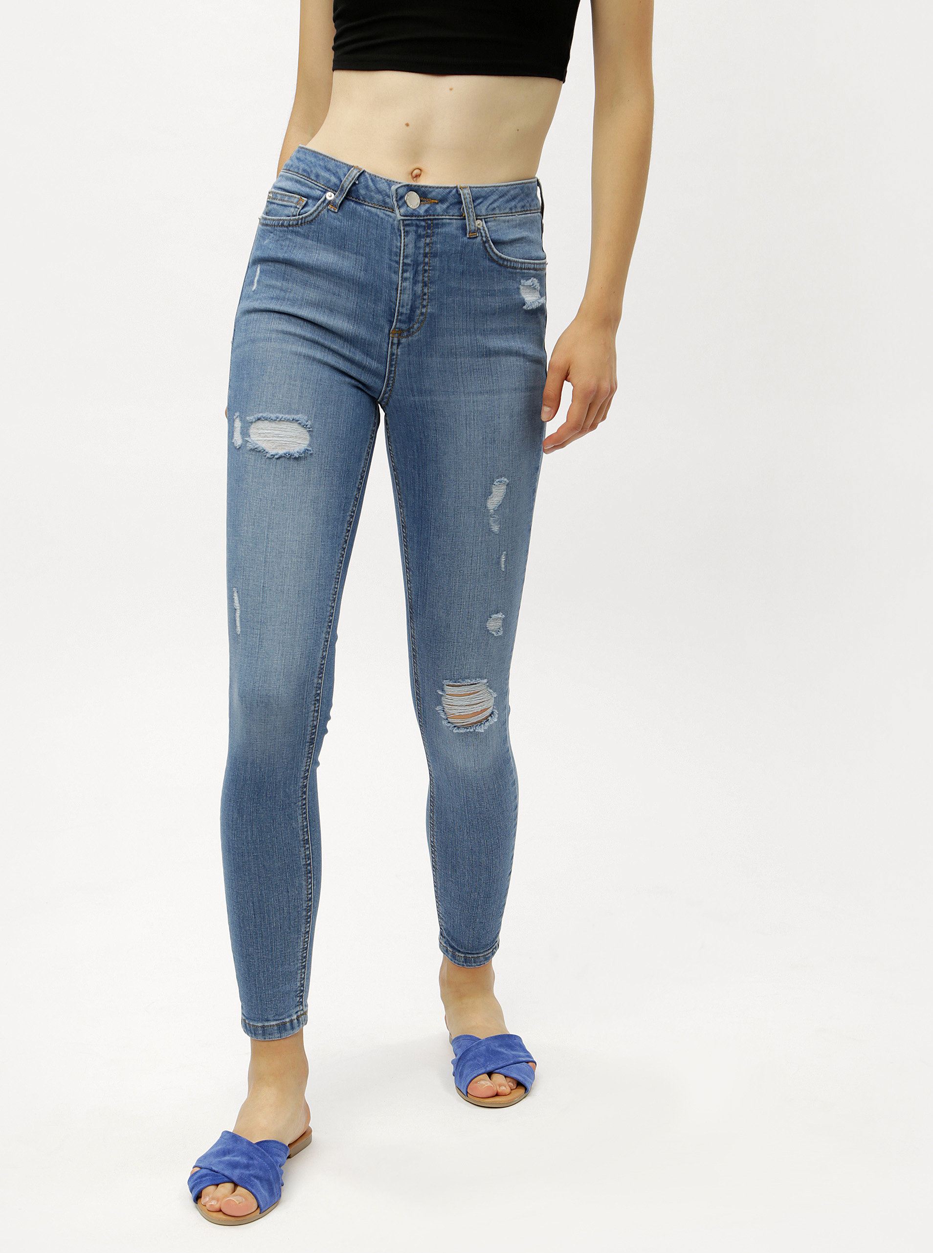 Světle modré super skinny džíny s vysokým pasem Miss Selfridge ... 472aad0b91