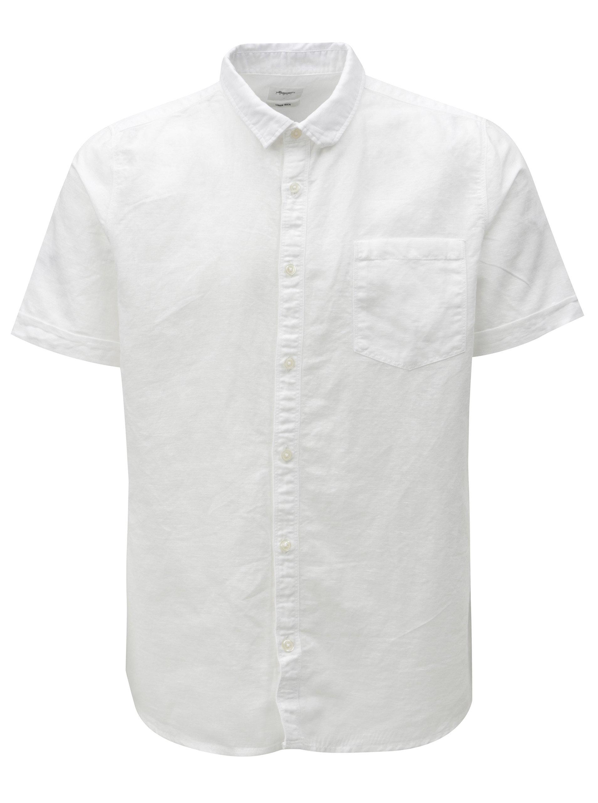 Bílá lněná košile s krátkým rukávem Burton Menswear London ... e1b5cef082