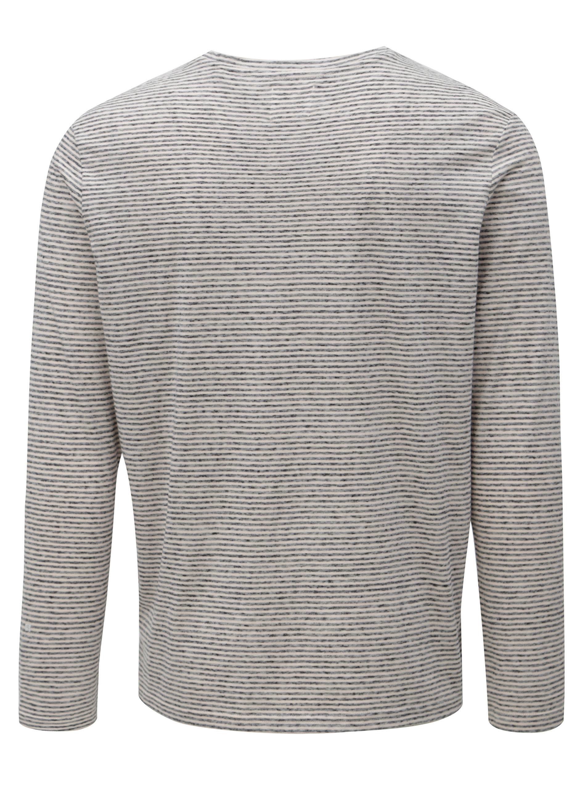 62a5a688b331 Krémovo-sivé pruhované tričko s dlhým rukávom Burton Menswear London ...