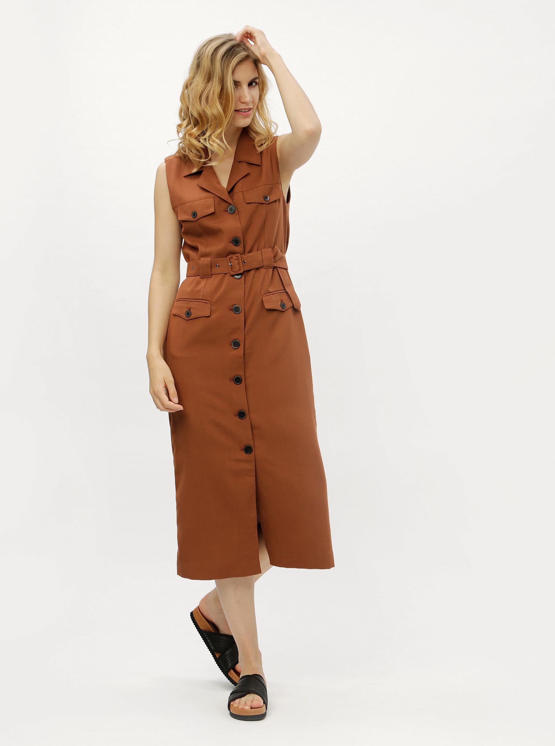 Hnedé košeľové šaty s textilným opaskom Selected Femme Linny ... 77d6c94c9b3